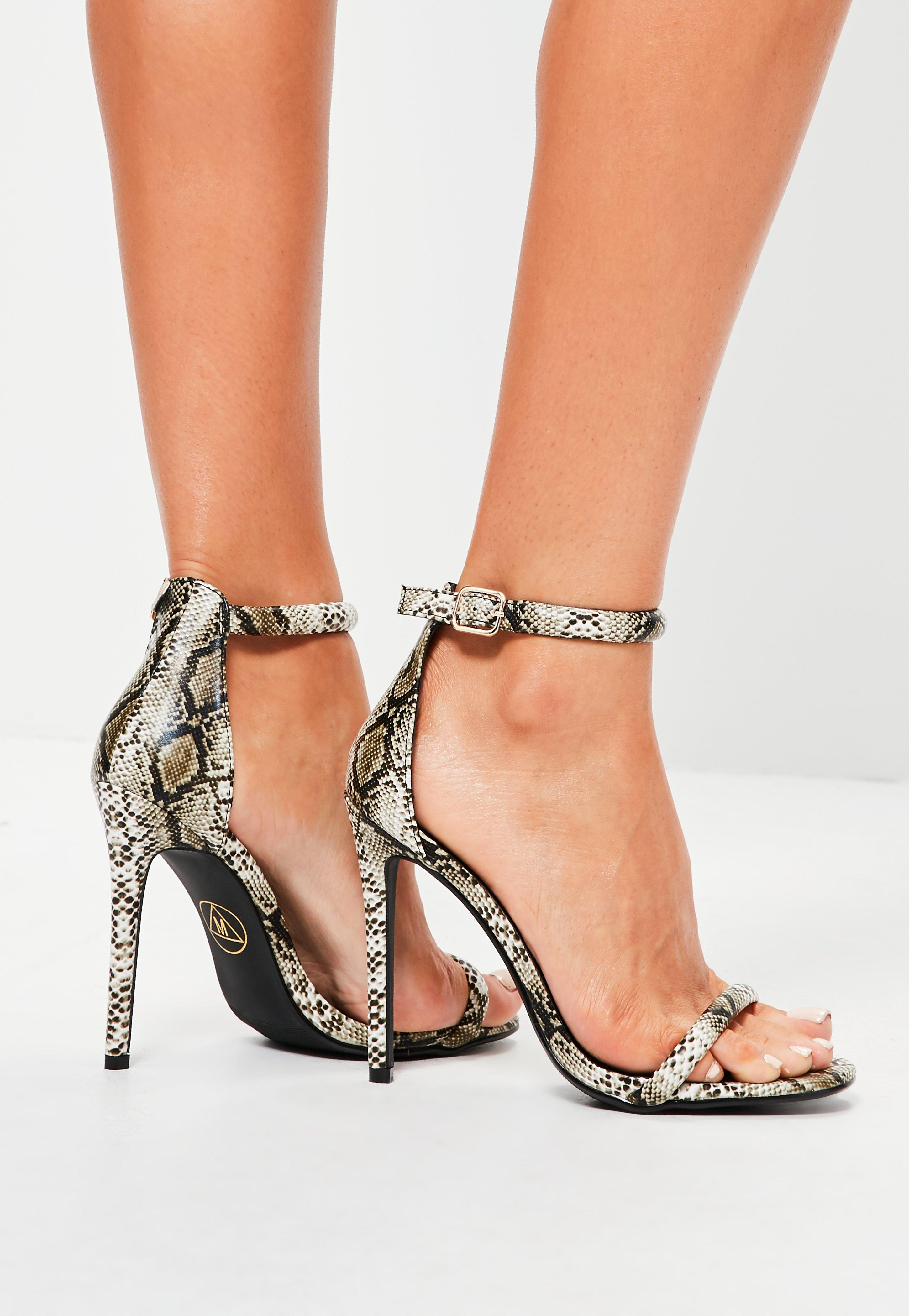 28c3be24796 Lyst - Missguided Rounded Strap Barely There Sandal Snakeskin