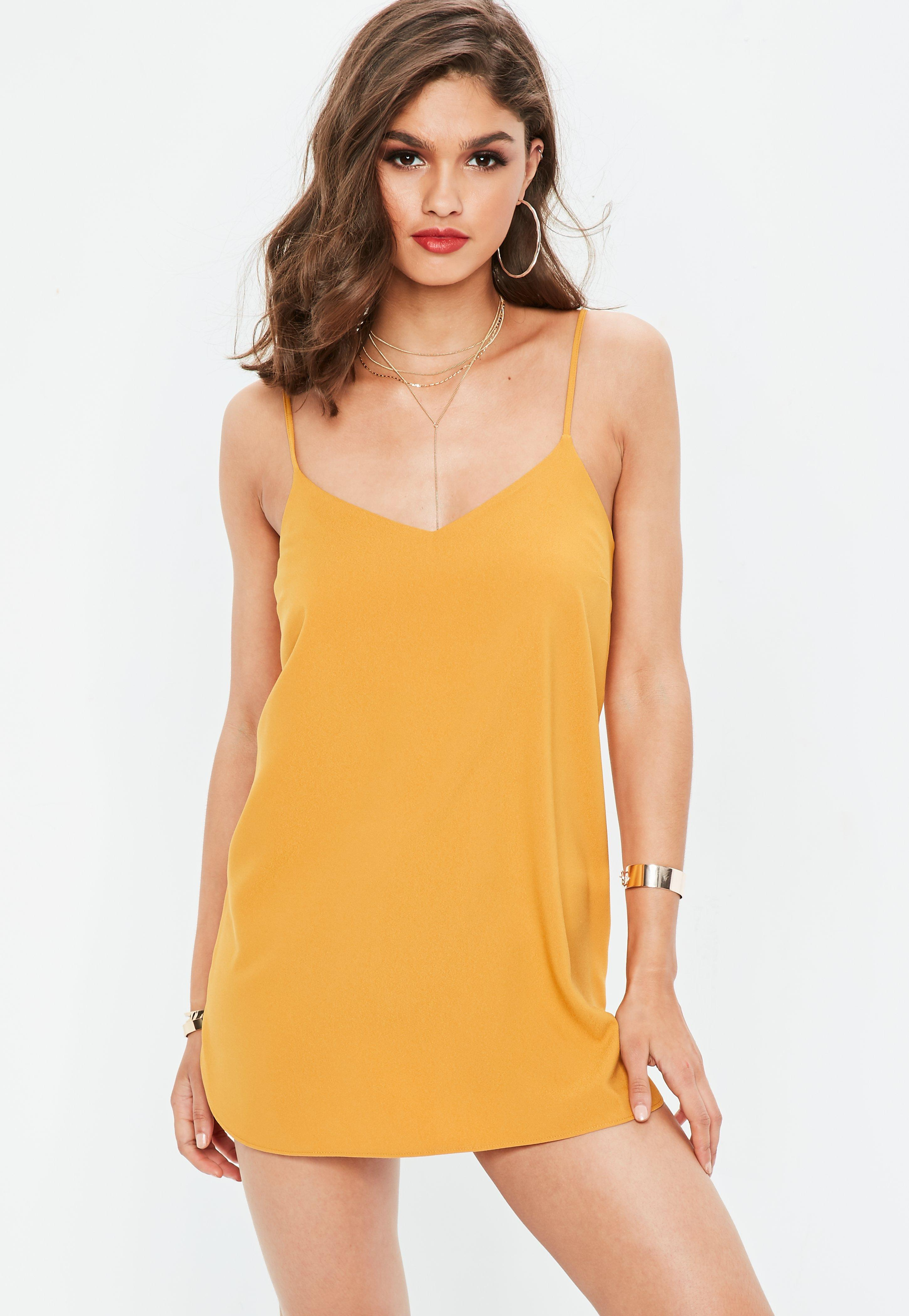 f88a57370a1 Missguided - Yellow Mustard Crepe Cami Shift Dress - Lyst. View fullscreen