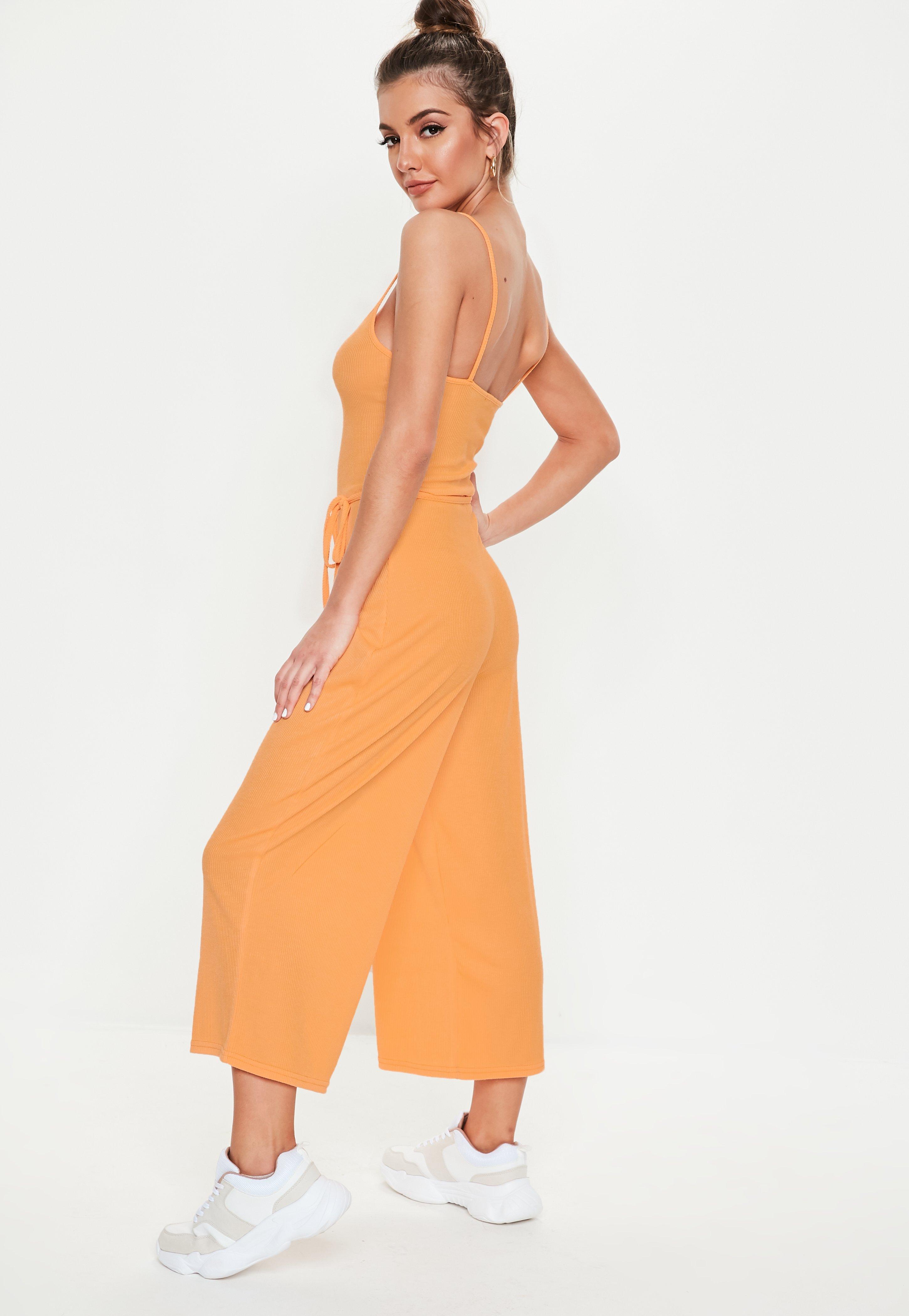 b4cc9b1dfff Missguided - Orange Rib Cami Culotte Jumpsuit - Lyst. View fullscreen