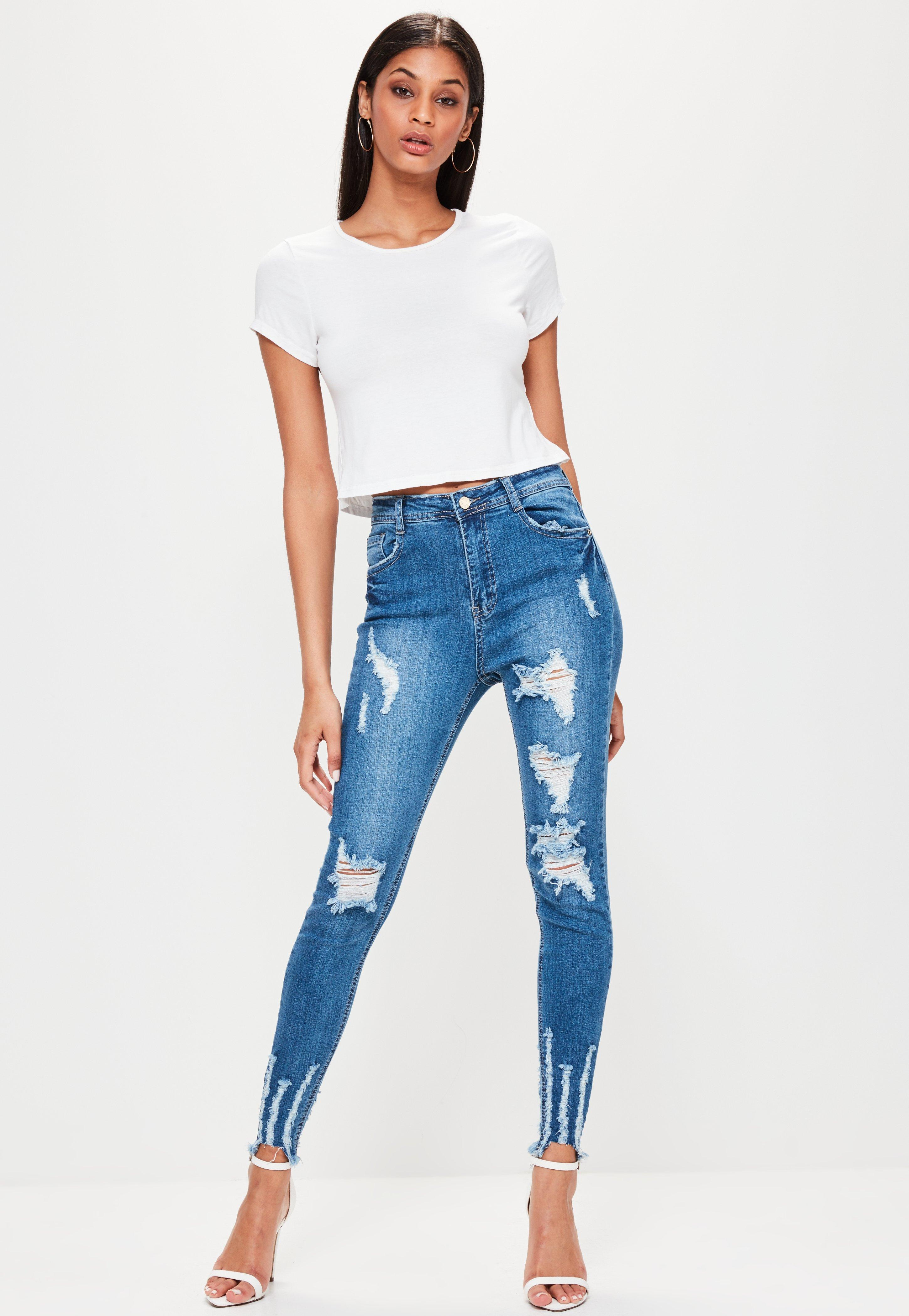 172a10d450a Missguided Blue Sinner High Waisted Chewed Hem Skinny Jeans in Blue ...