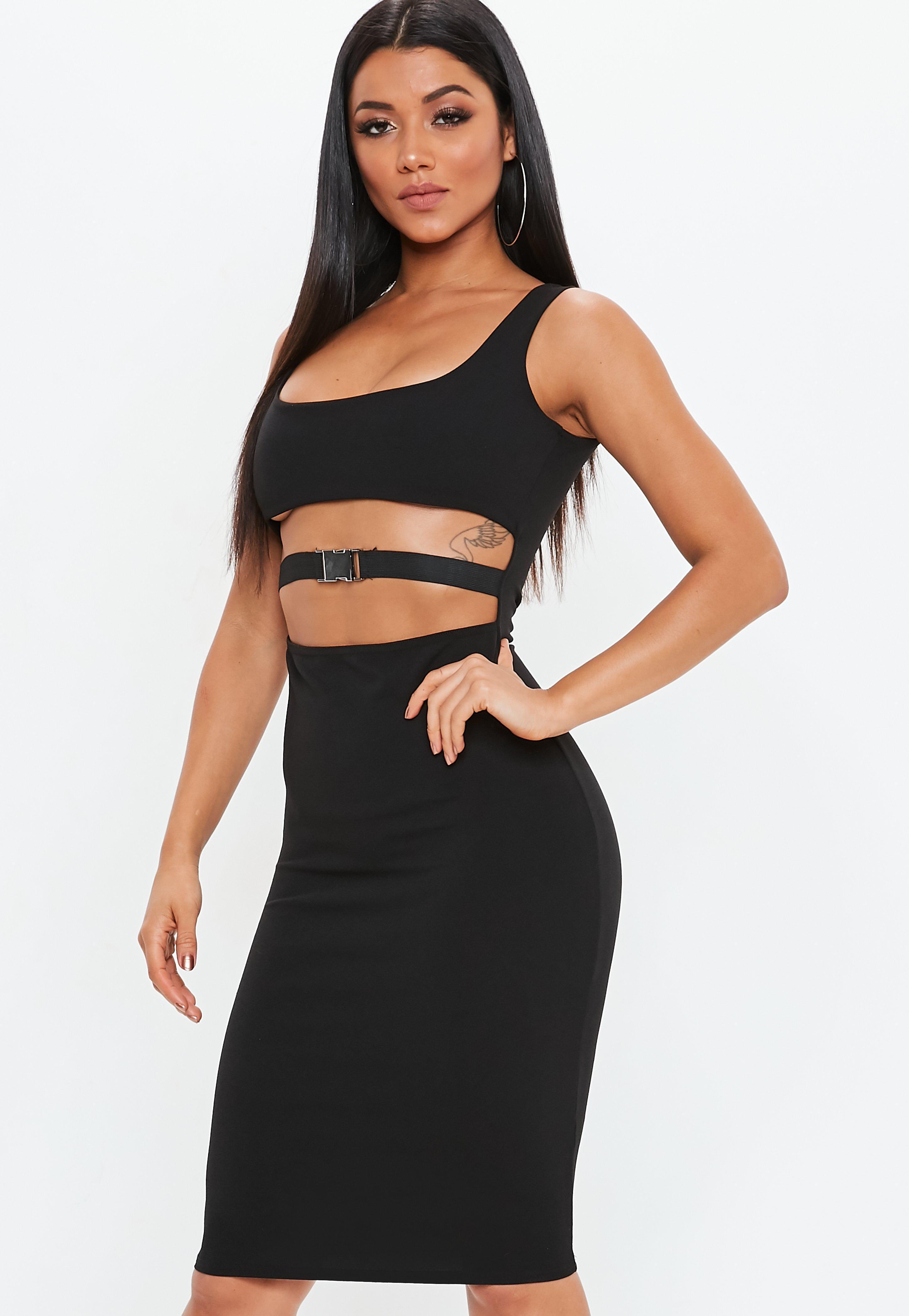 dfaa6eef9f02a Missguided Black Cut Out Detail Midi Dress in Black - Lyst
