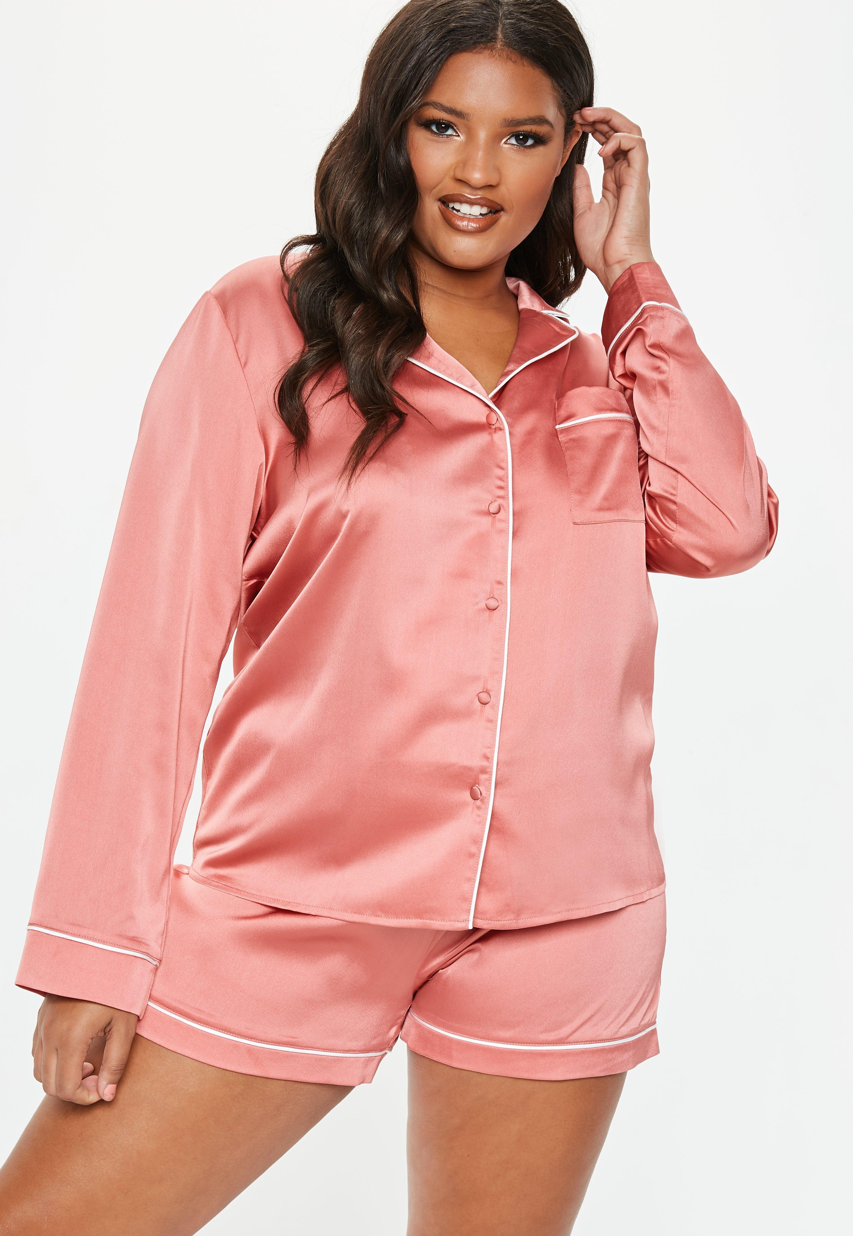 702a0b3be61b Missguided Plus Size Pink Satin Pyjama Set in Pink - Lyst
