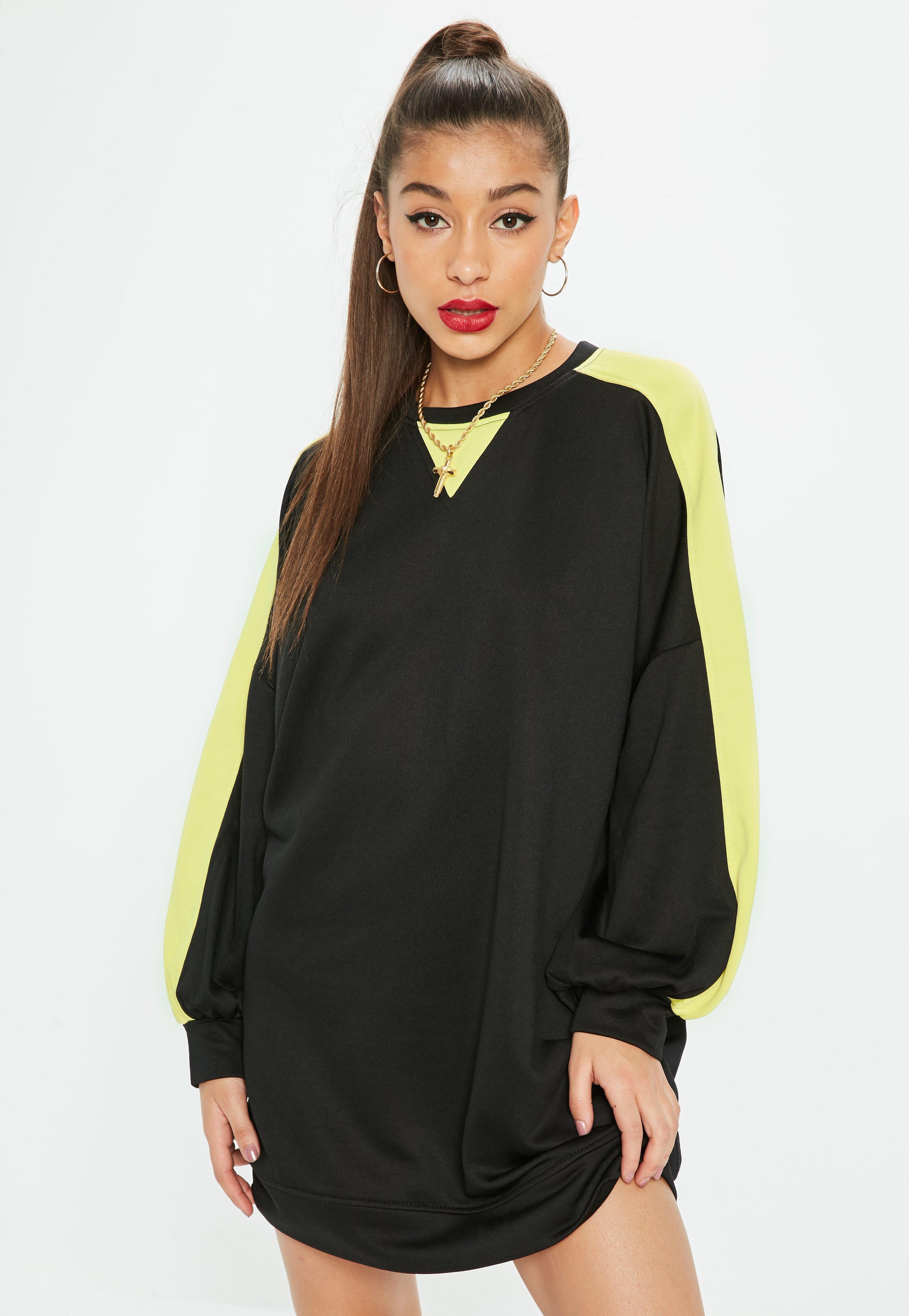 6d0f728fc6ea Lyst - Missguided Black Oversized Contrast Sleeve Sweatshirt Dress ...