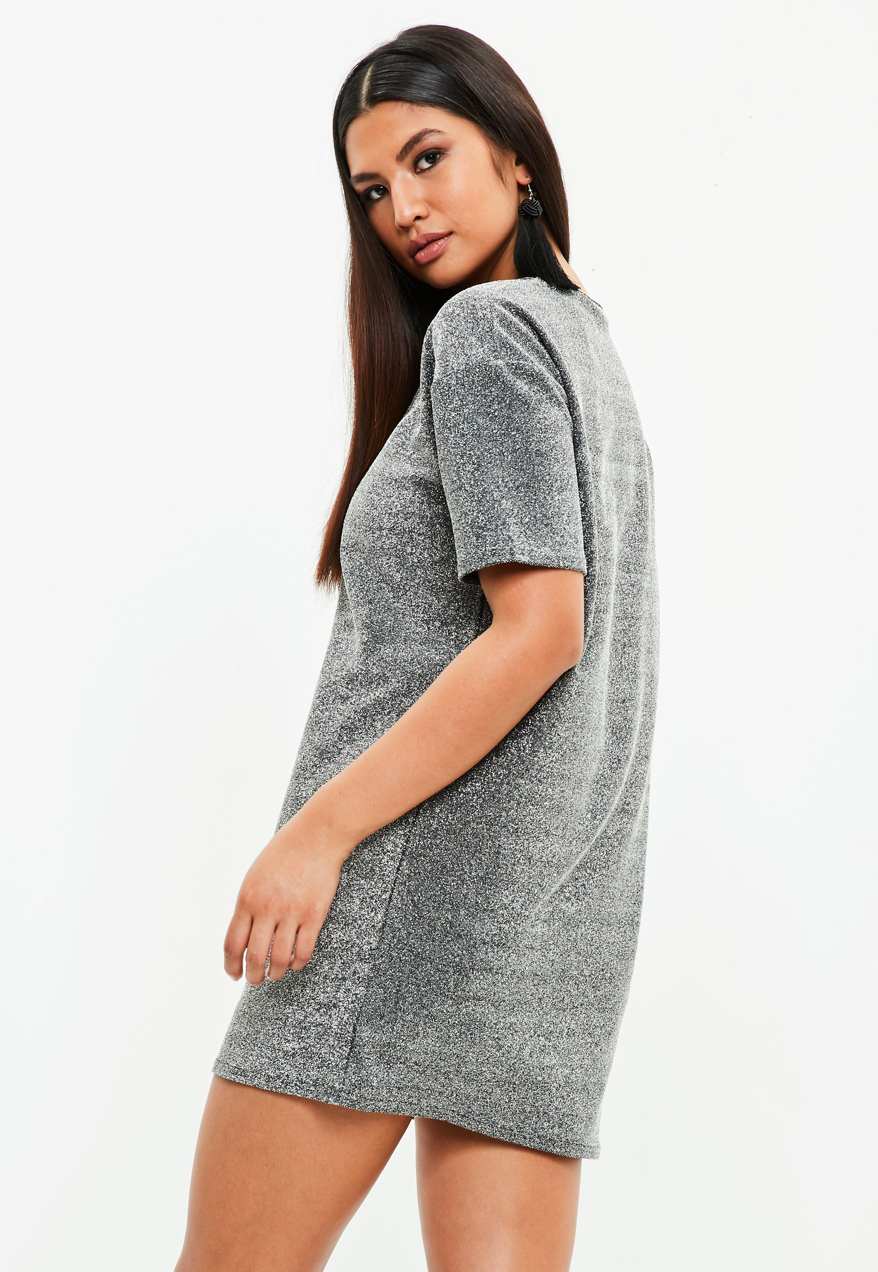 eb761d36234 Missguided Silver Glitter Oversized T-shirt Dress in Metallic - Lyst