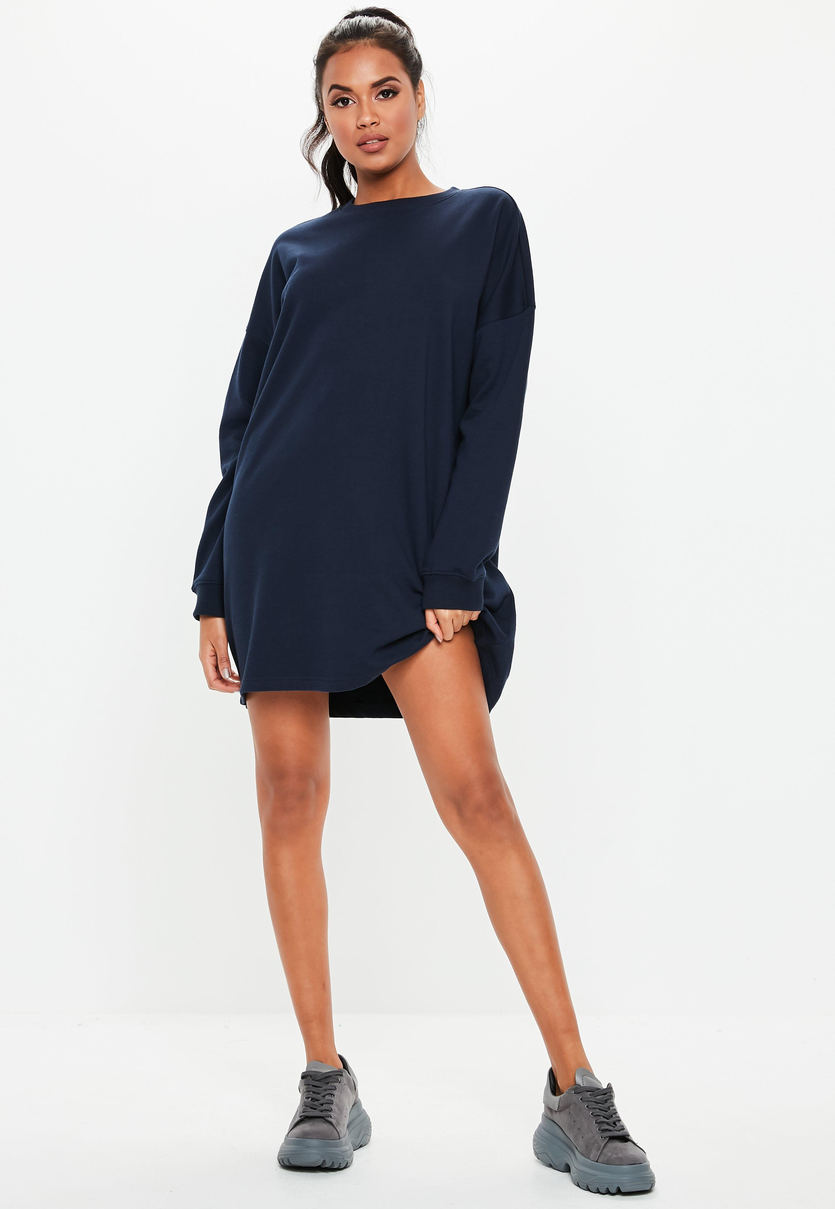 20270599284 Lyst - Missguided Navy Crew Neck Sweater Dress in Blue
