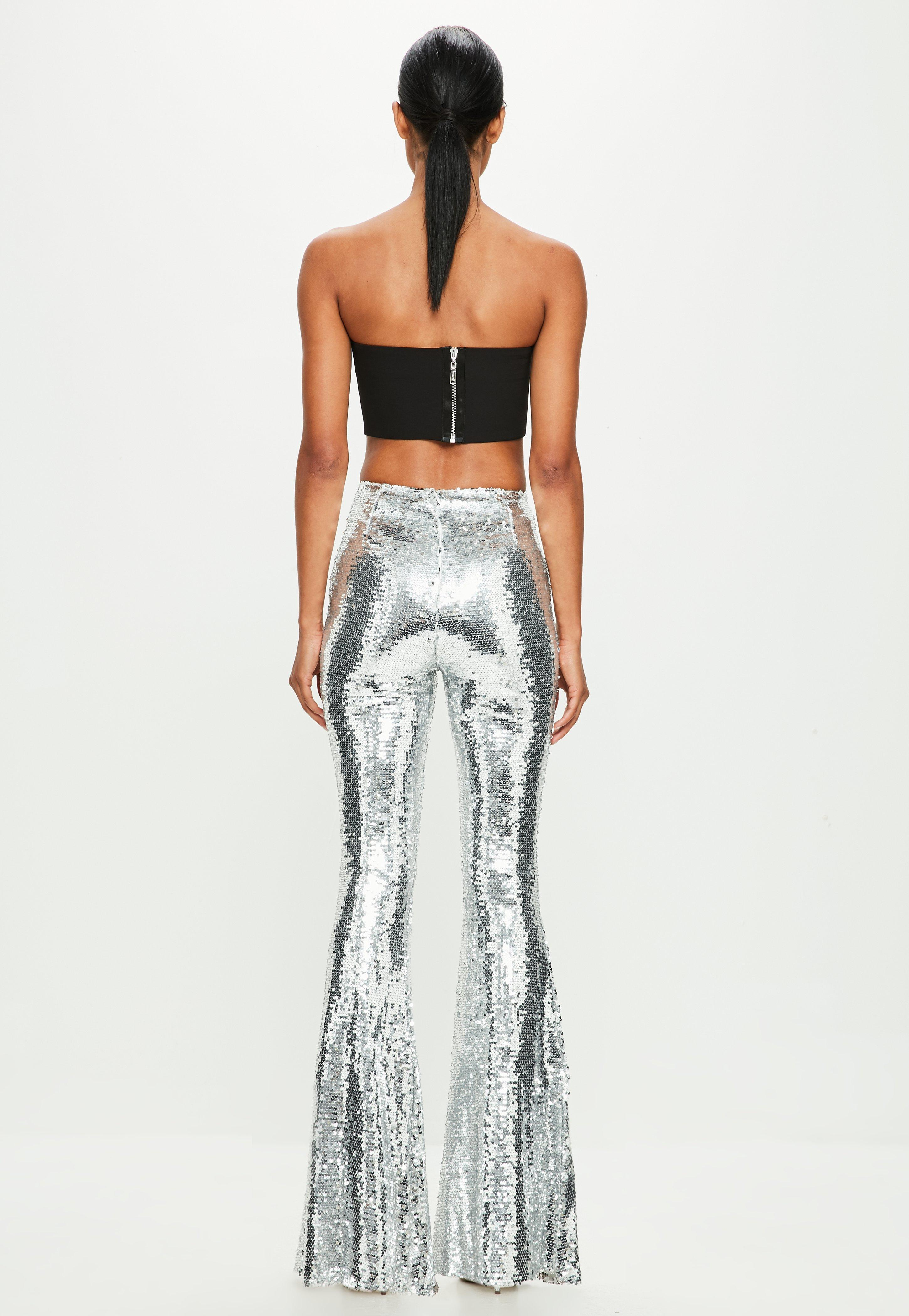 301c8994f98 Missguided Peace + Love Silver Sequin Flared Leg Pants in Metallic ...