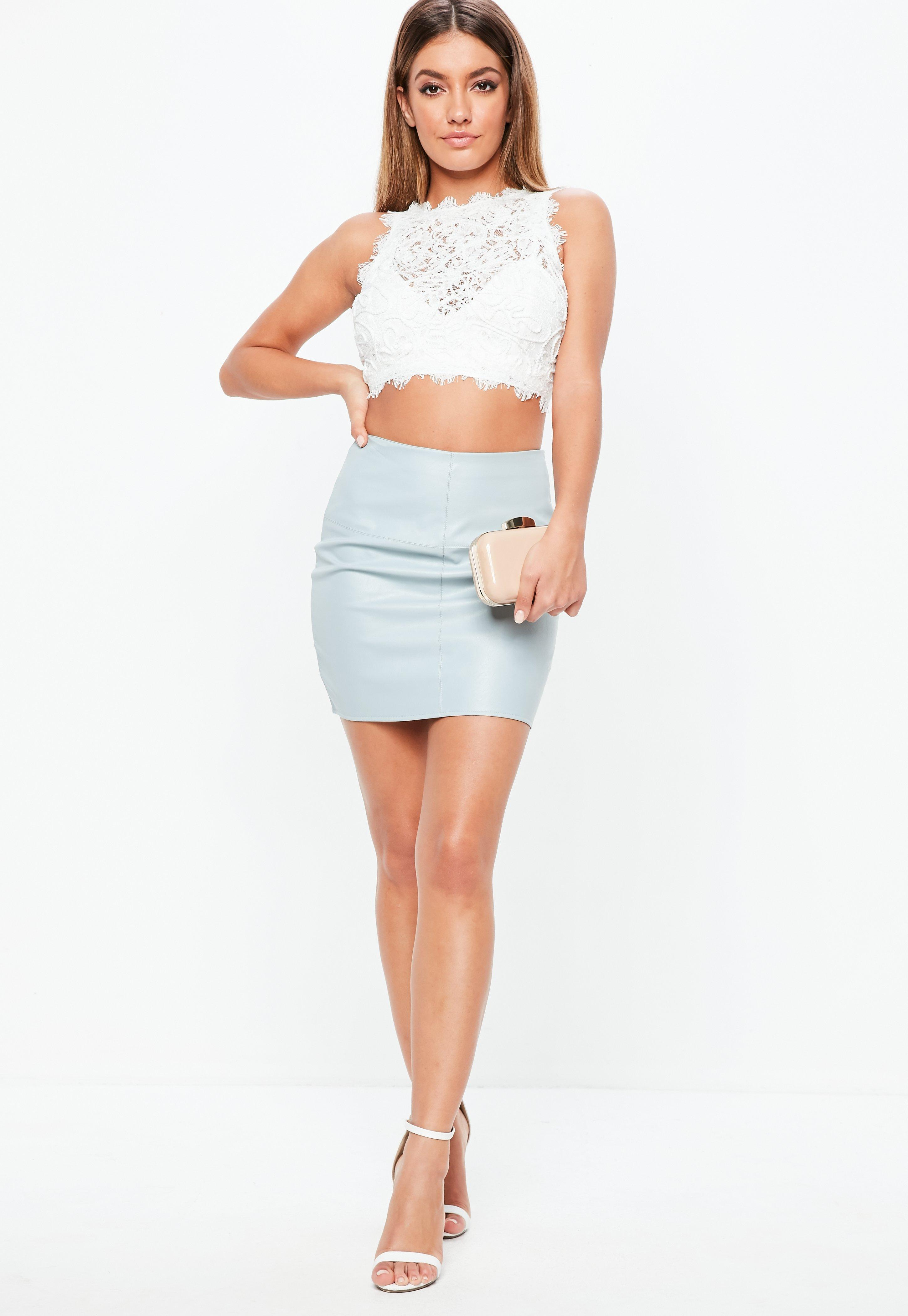 5a24071eafad0 Lyst - Missguided Petite White Cornelli Lace Crop Top in White