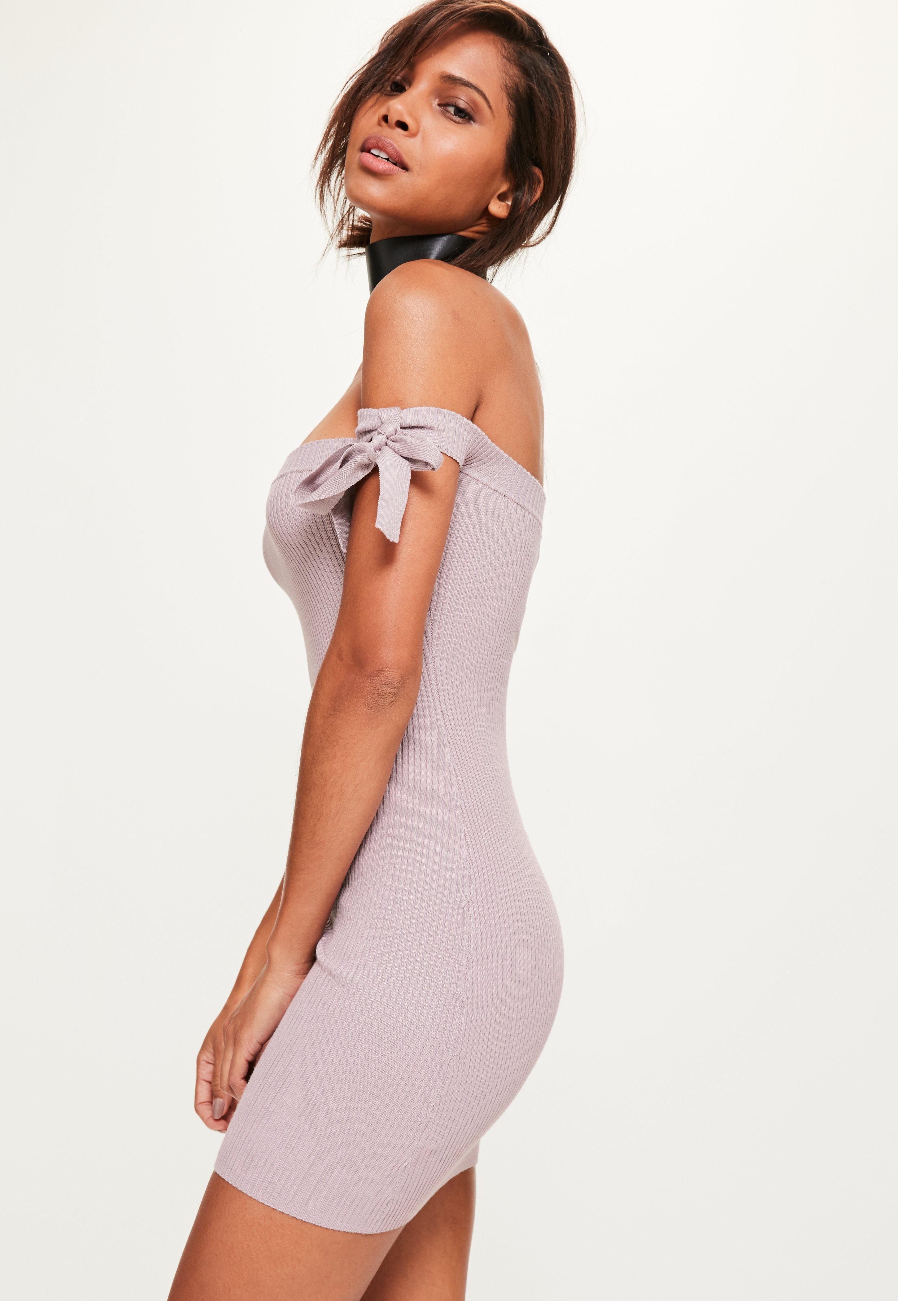 a720187509 Lyst - Missguided Purple Tie Bardot Ribbed Knitted Mini Dress in Purple