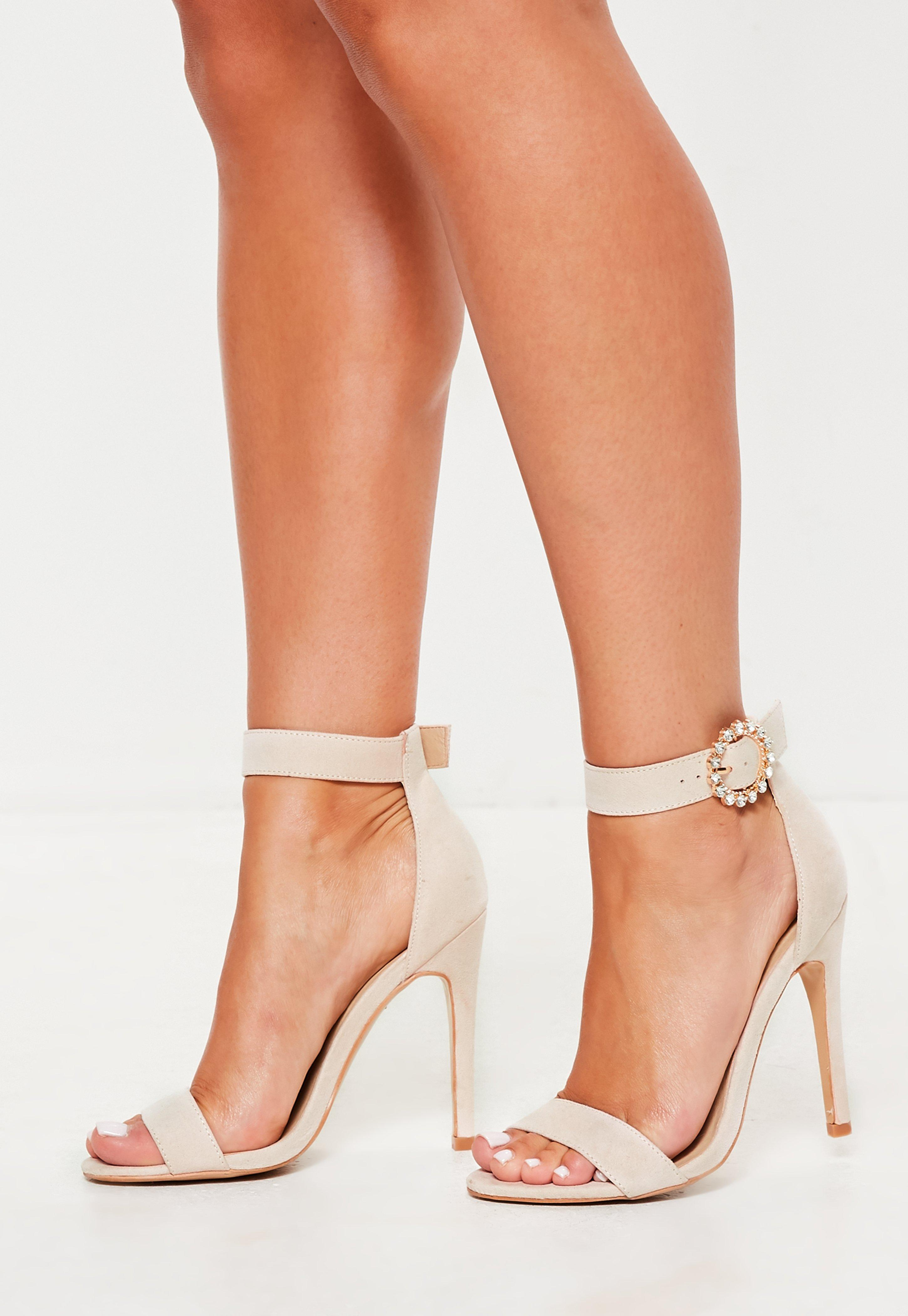 af05e1d3f21 Missguided Pink Wide Fit Embellished Buckle Barely There Heels in ...