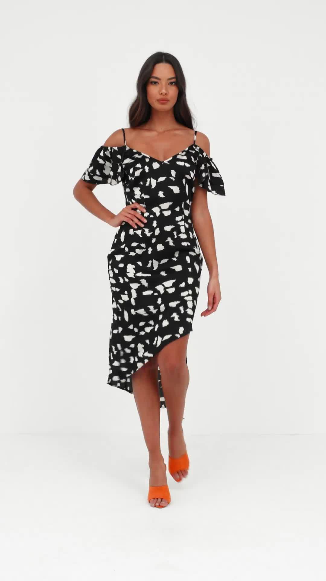 Missguided - Black Giraffe Print Cold Shoulder Midi Dress - Lyst. View  fullscreen a9f593298