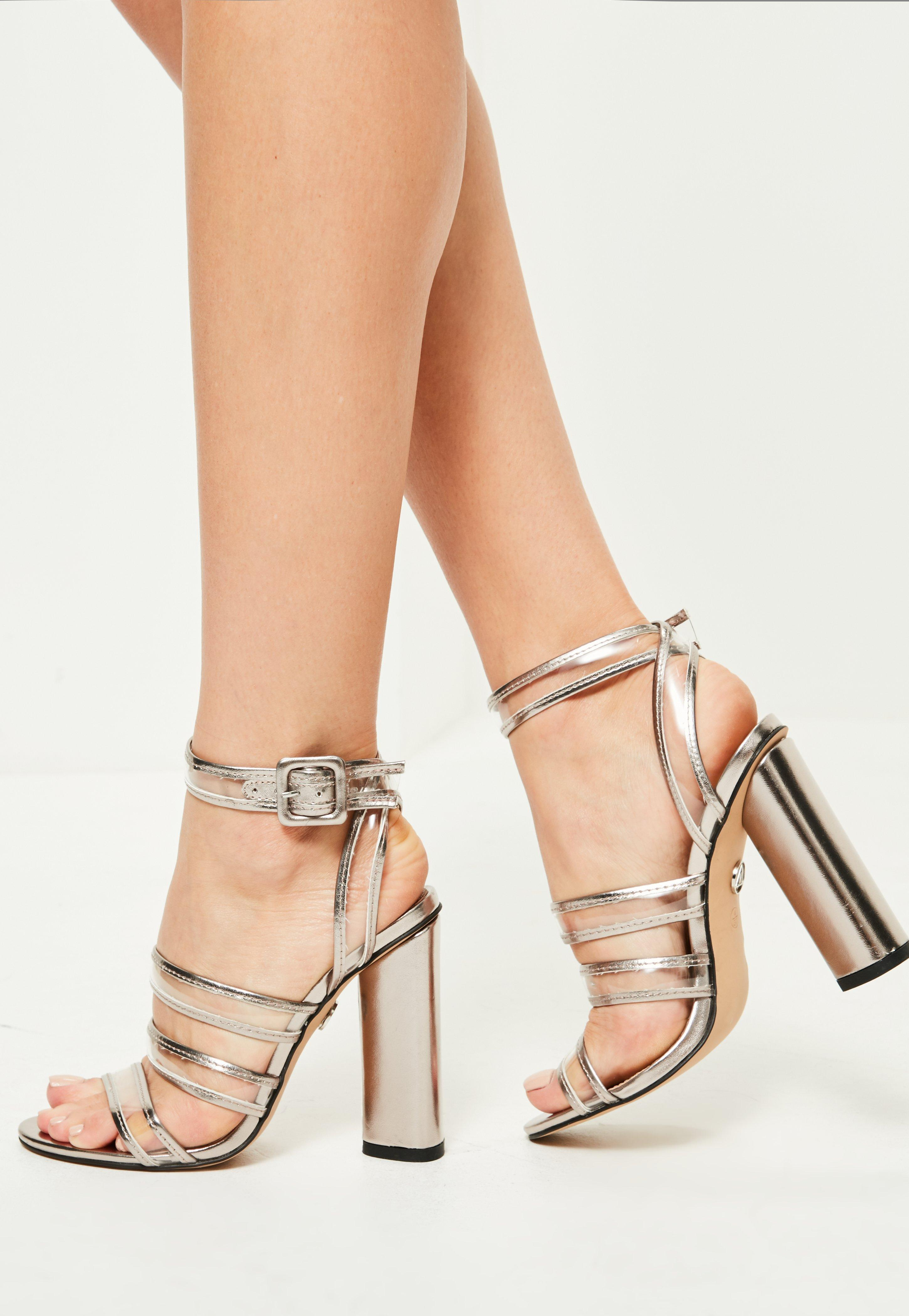 faaaf9395a74 Lyst - Missguided Silver Clear Multi Strap Block Heeled Sandals in ...