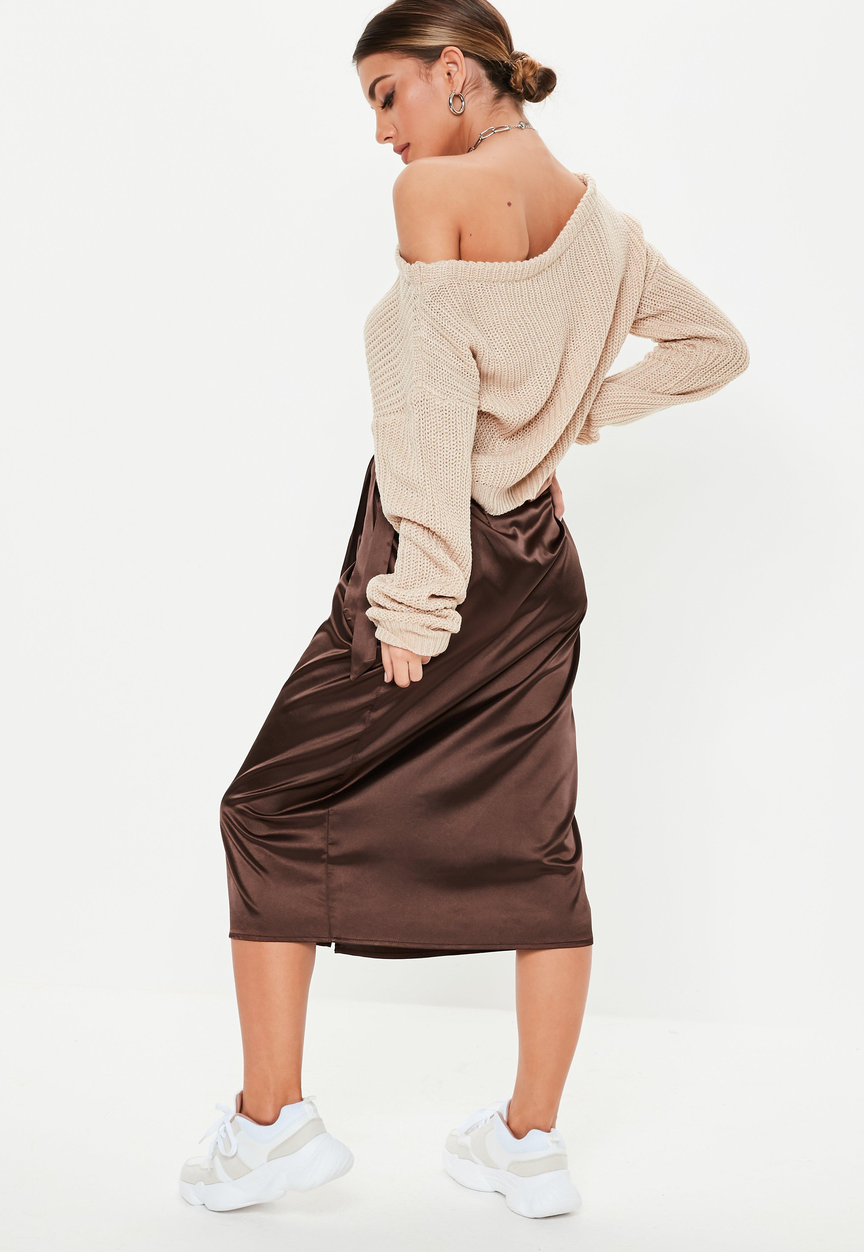 5f29aae90195 Missguided - Brown Chocolate Satin Wrap Midi Skirt - Lyst. View fullscreen