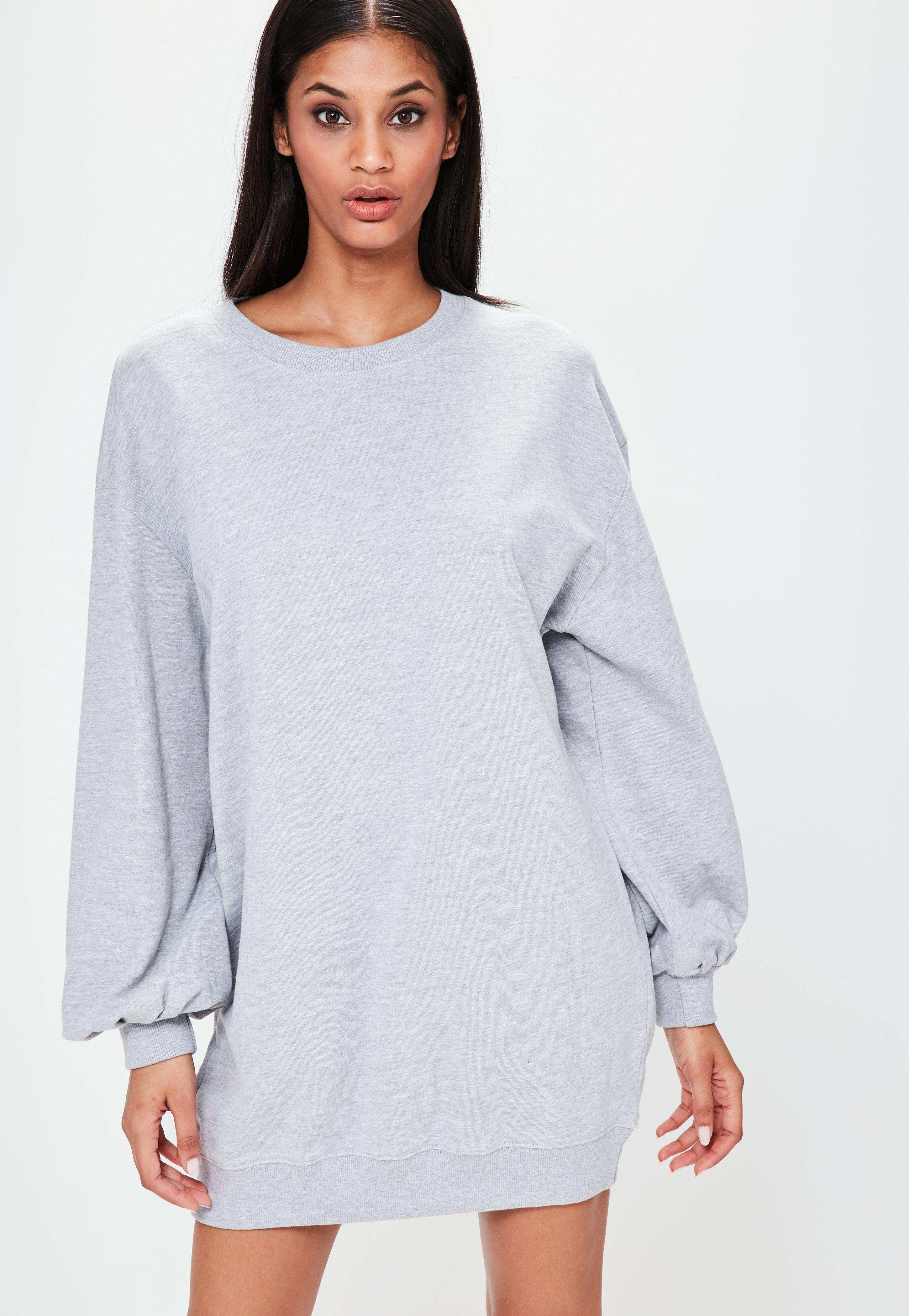 7f2eb9cc46a Missguided Grey Balloon Sleeve Sweater Dress in Gray - Lyst