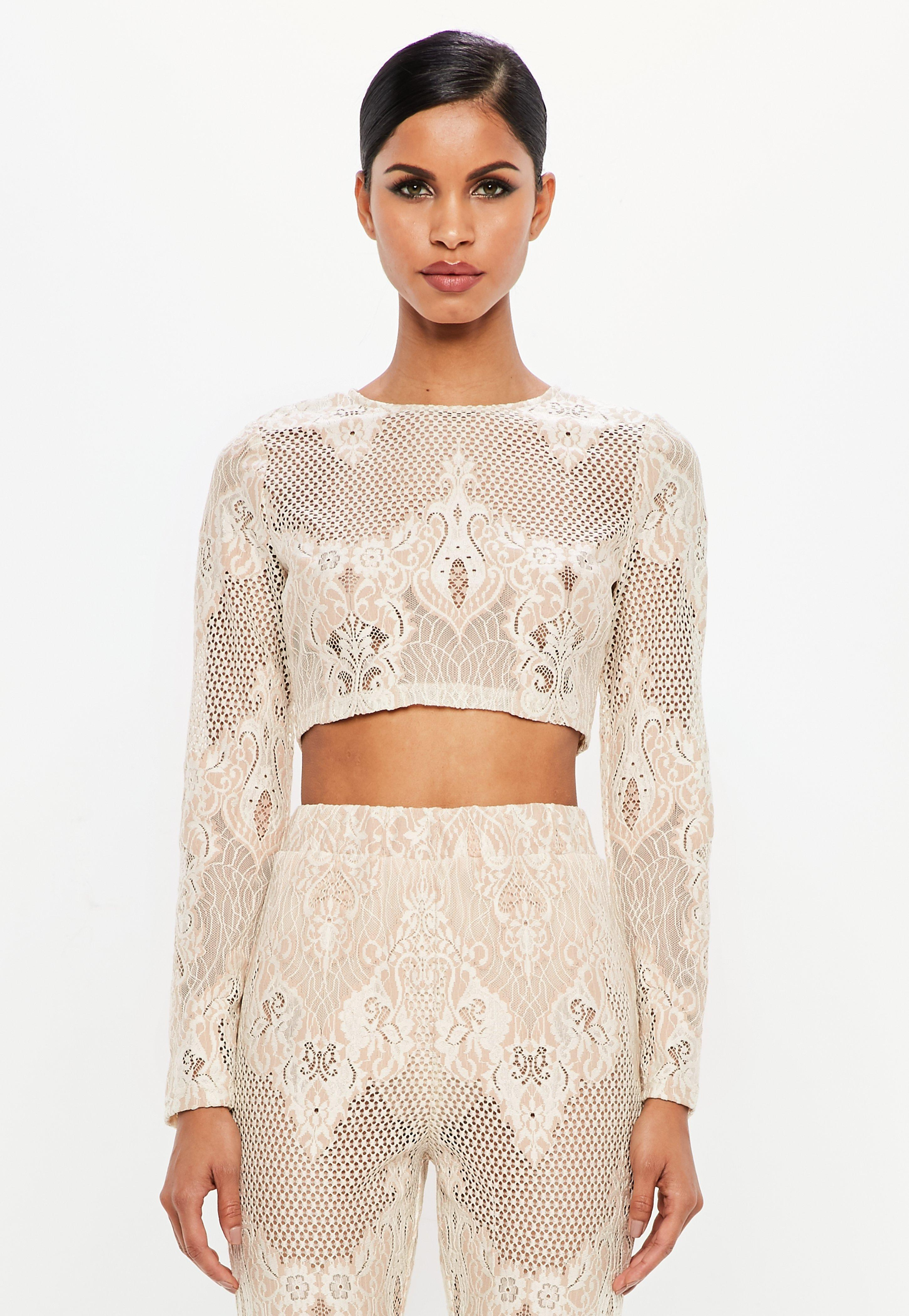 adf4fb2950a Missguided Peace + Love Nude Lace Long Sleeve Crop Top in Natural - Lyst