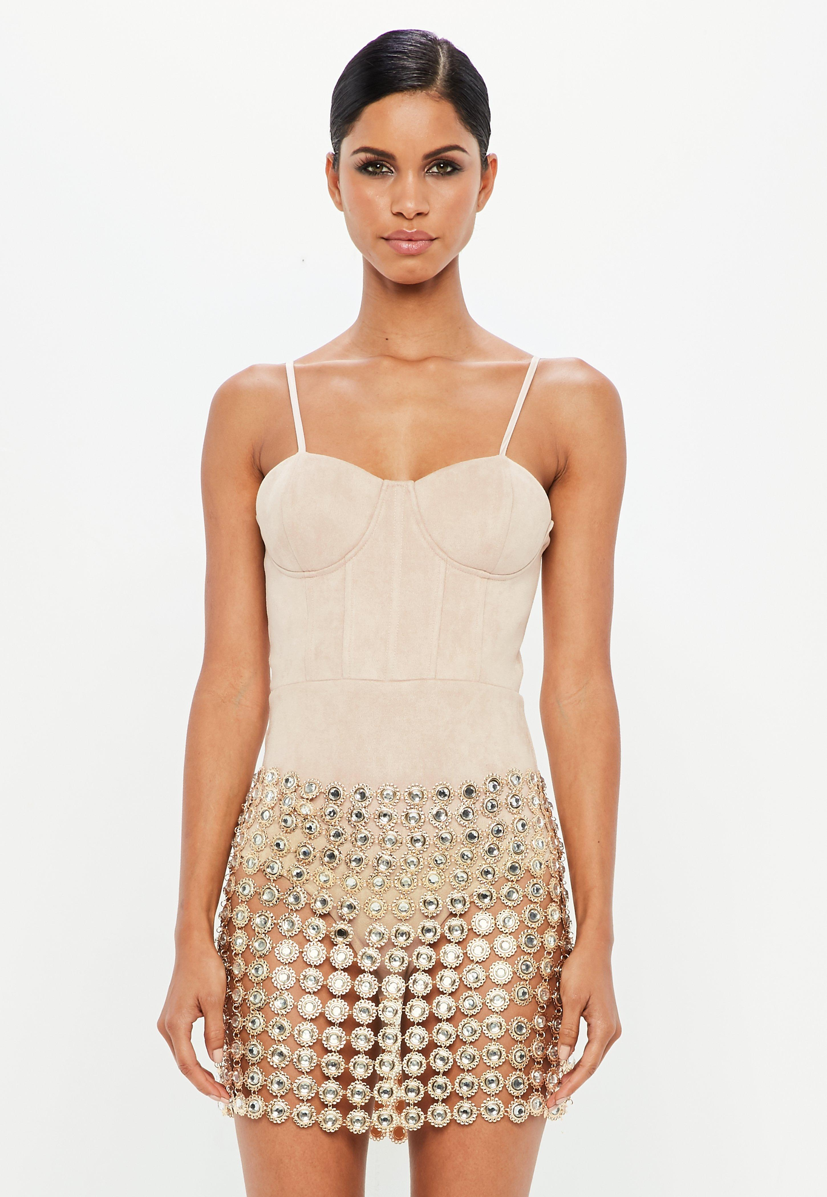 3724d9f1a9 Lyst - Missguided Peace + Love Gold Embellished Skirt Piece in Metallic
