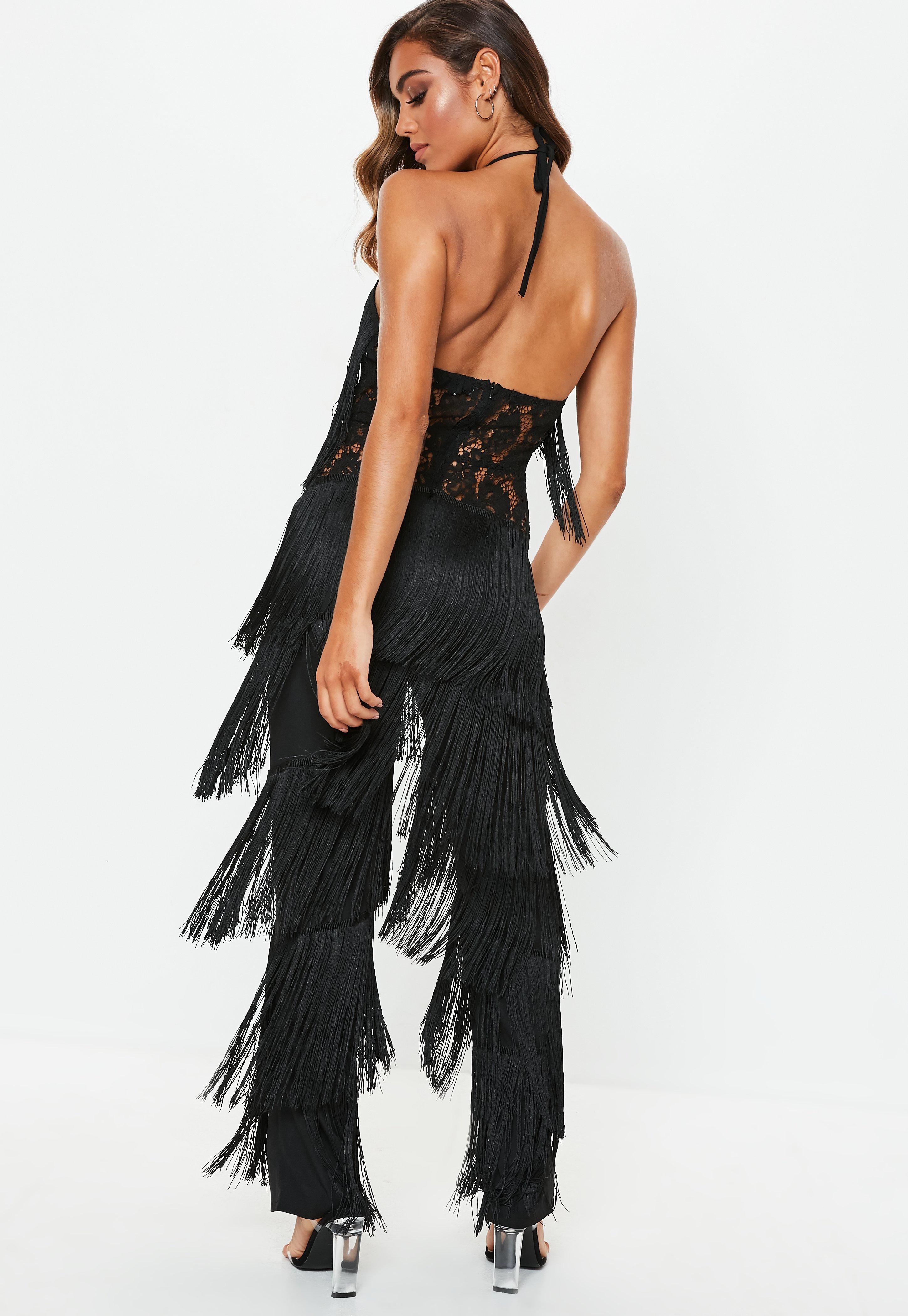 eaedd92a32c Missguided - Black Fringe Lace Jumpsuit - Lyst. View fullscreen