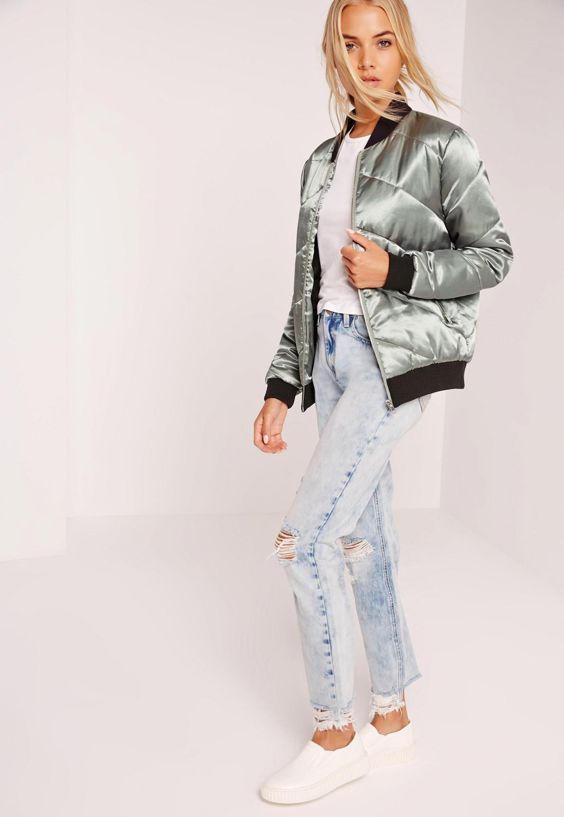 Lyst Missguided Silver Metallic Satin Quilted Bomber