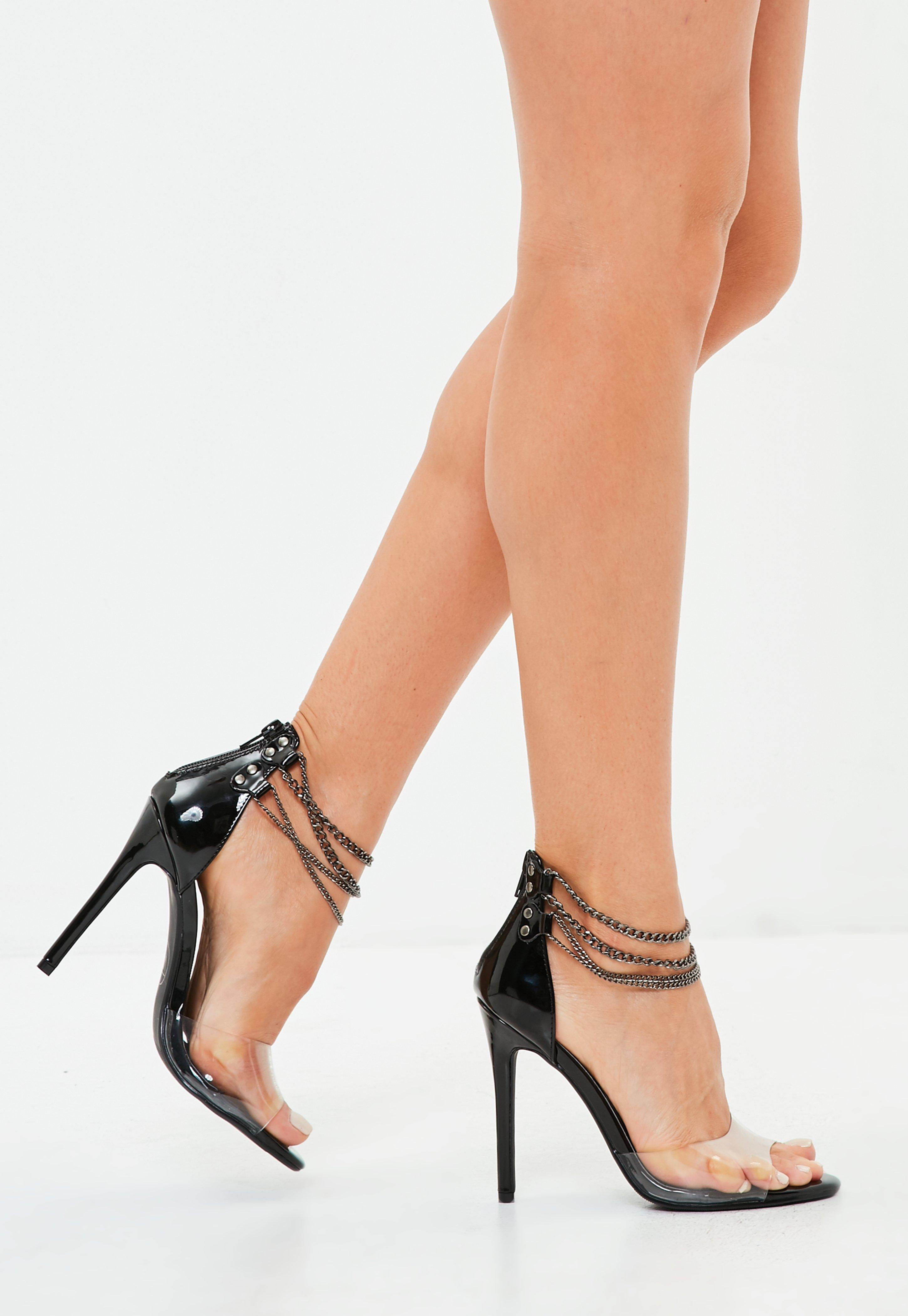 ee39ec49a7367a Lyst - Missguided Black Perspex Chain Barely There Heel in Black