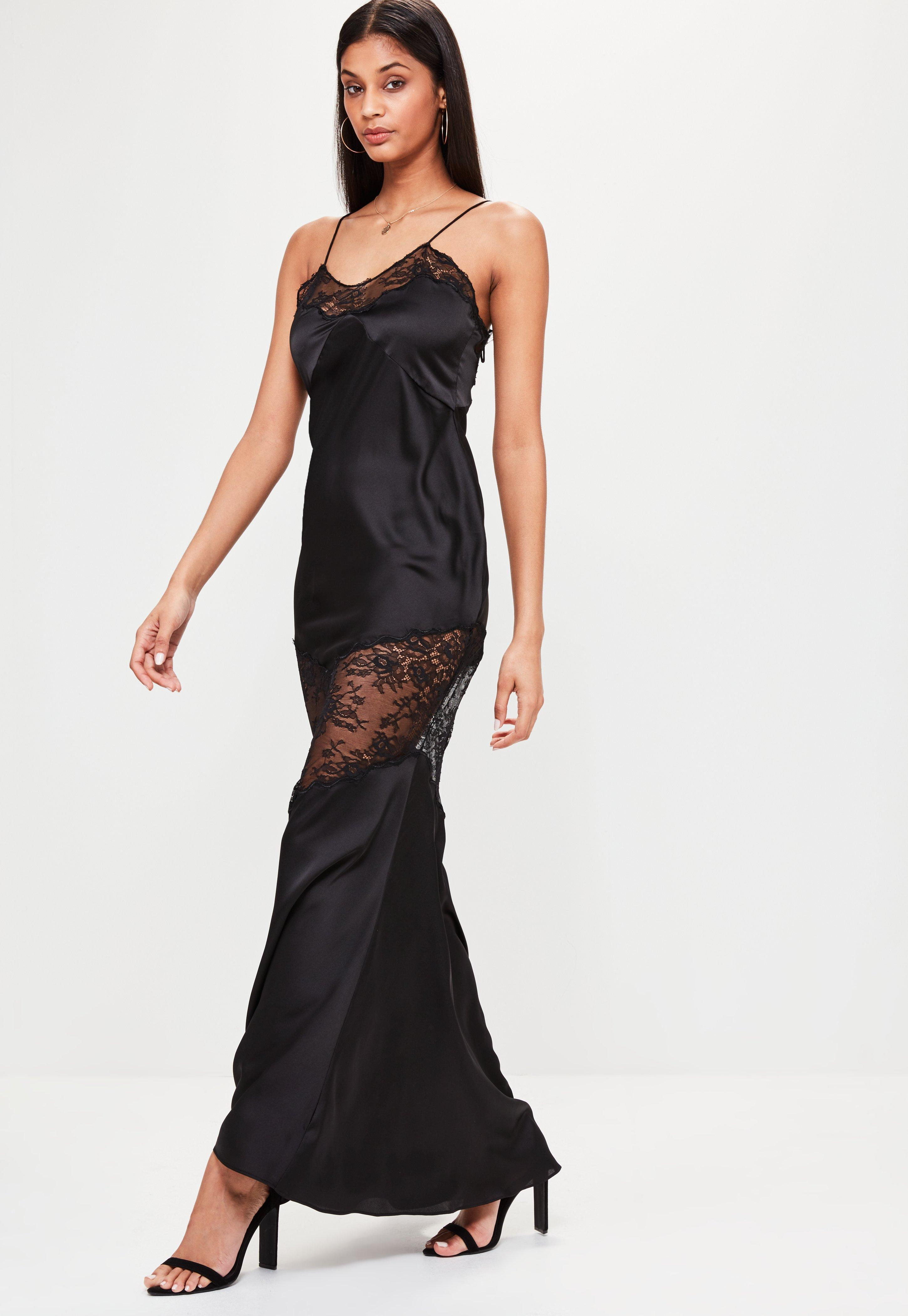 Lyst - Missguided Black Satin Lace Strappy Maxi Dress in Black