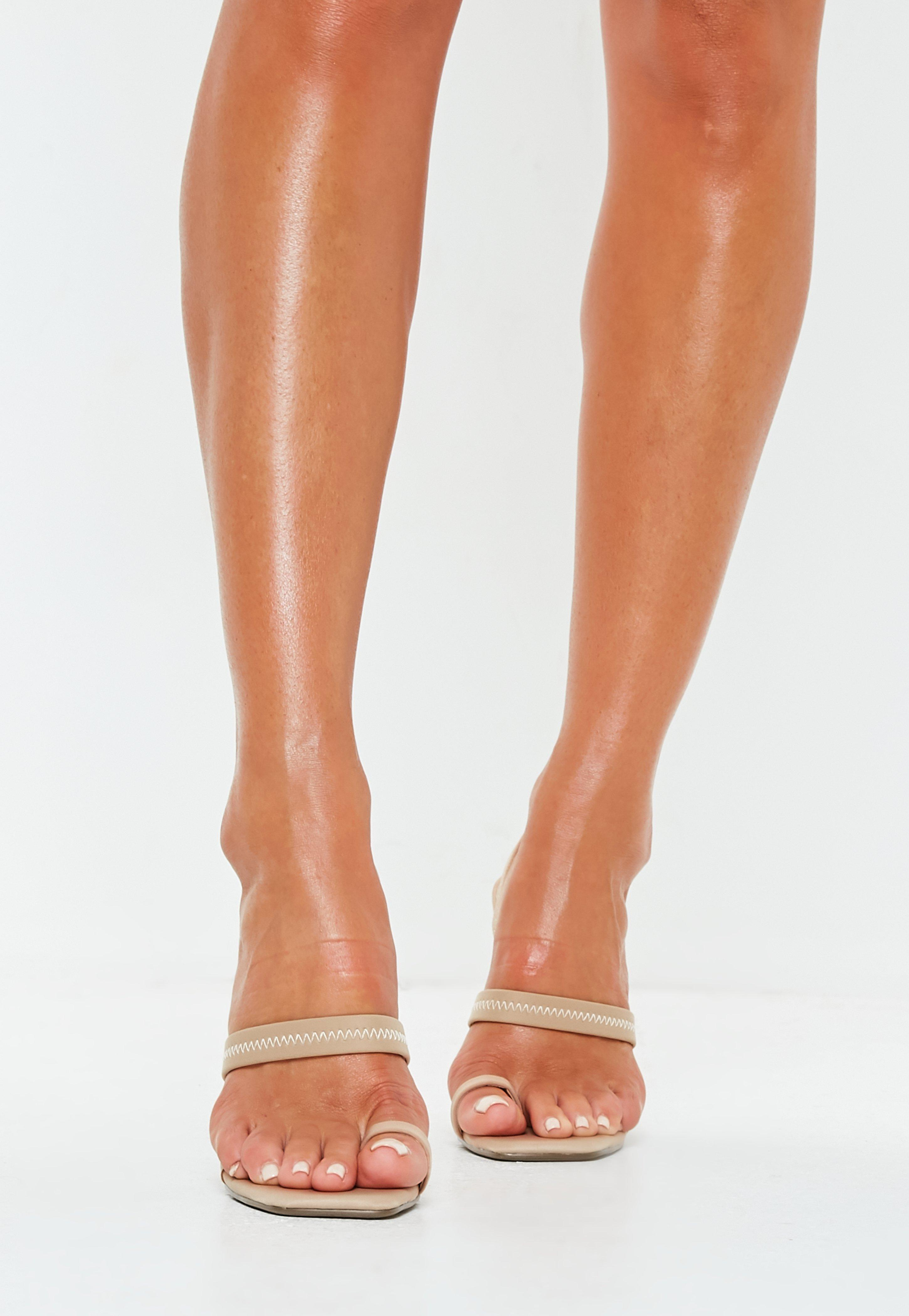 9f665479677a53 Lyst - Missguided Nude Toe Post Illusion Slingback Heels in Natural