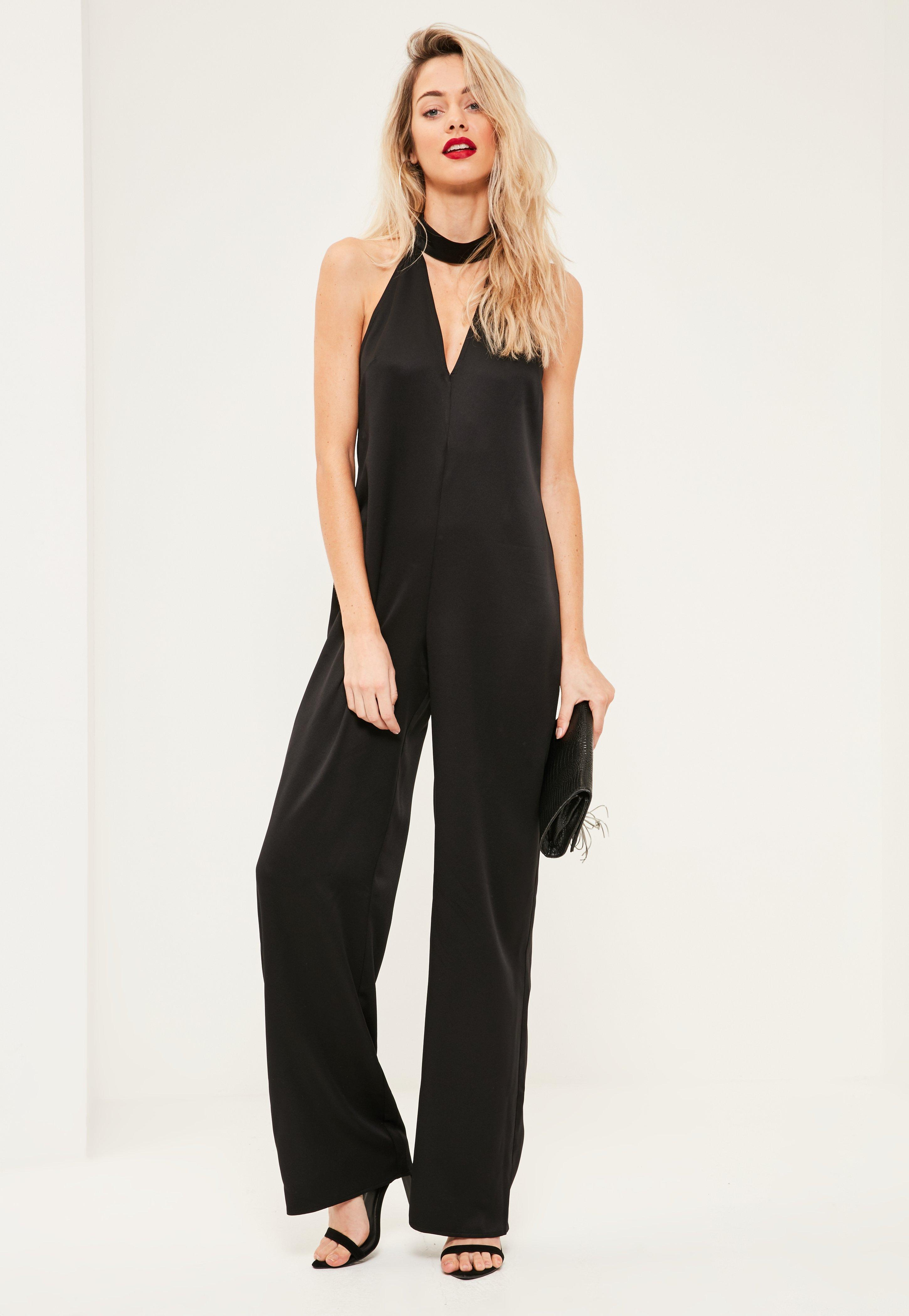 0caf3df378d6 Lyst - Missguided Tall Black Choker Neck Satin Jumpsuit in Black