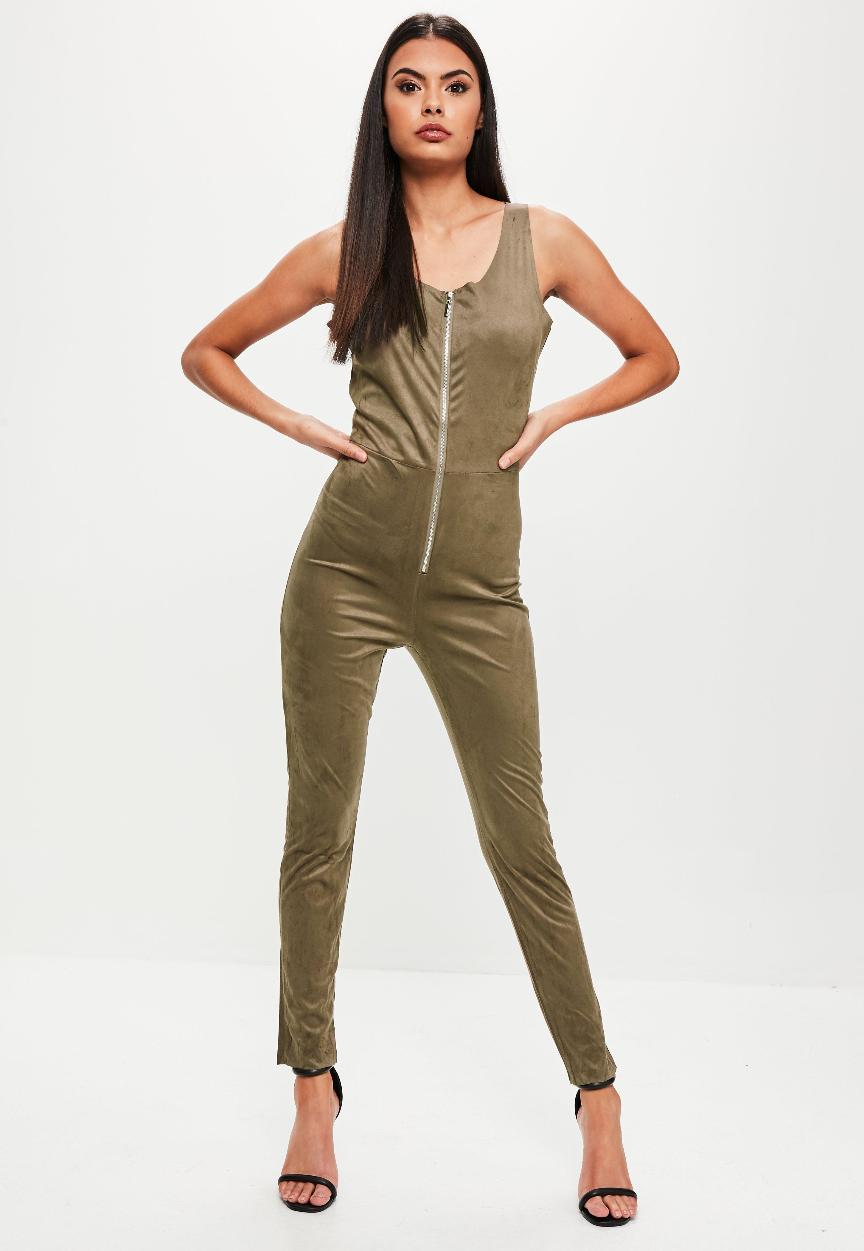 aadf02377a Missguided Khaki Faux Suede Zip Up Jumpsuit in Natural - Lyst