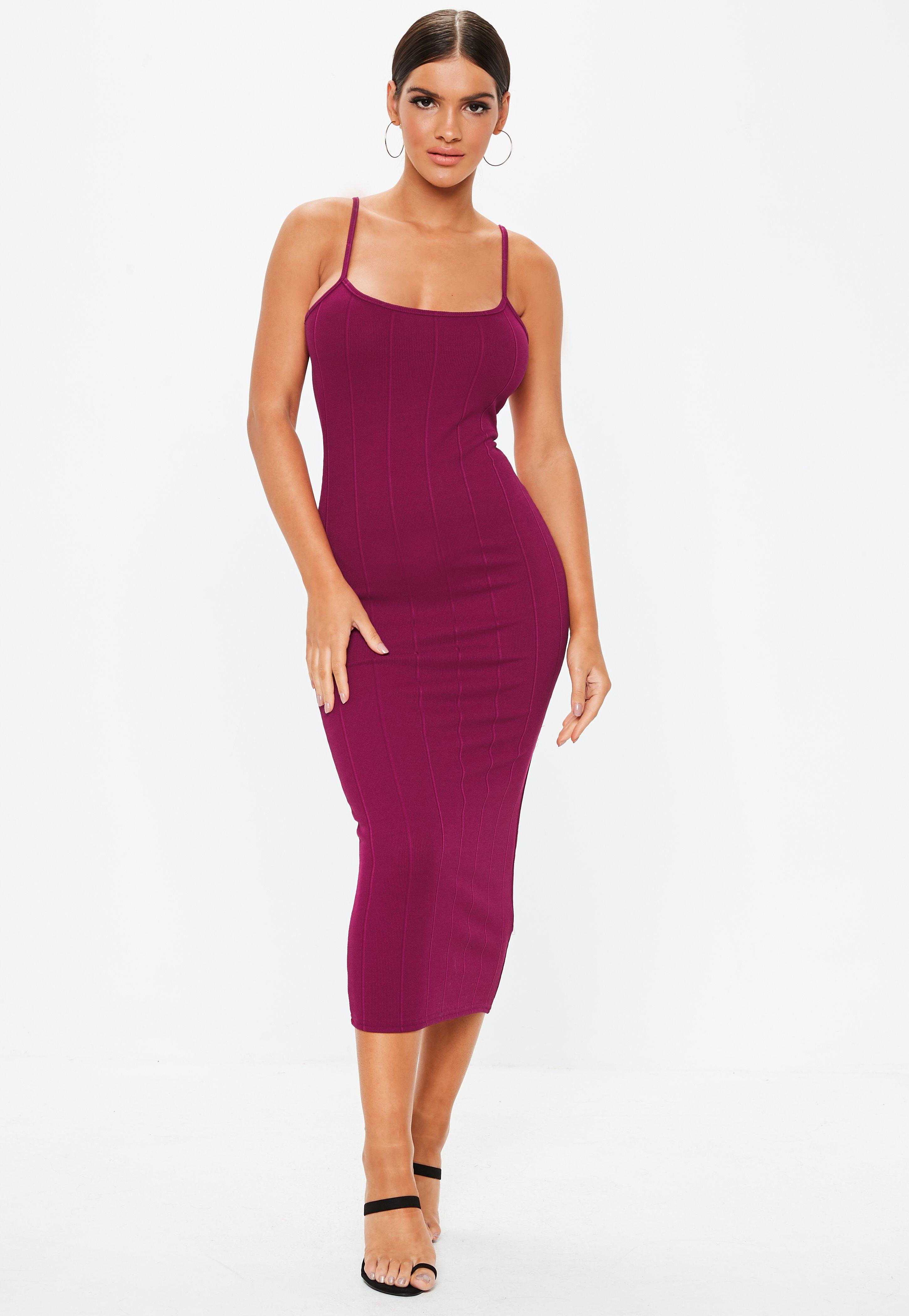 9e00c9d68fceab Missguided Purple Scoop Neck Strappy Bandage Midi Dress in Purple - Lyst