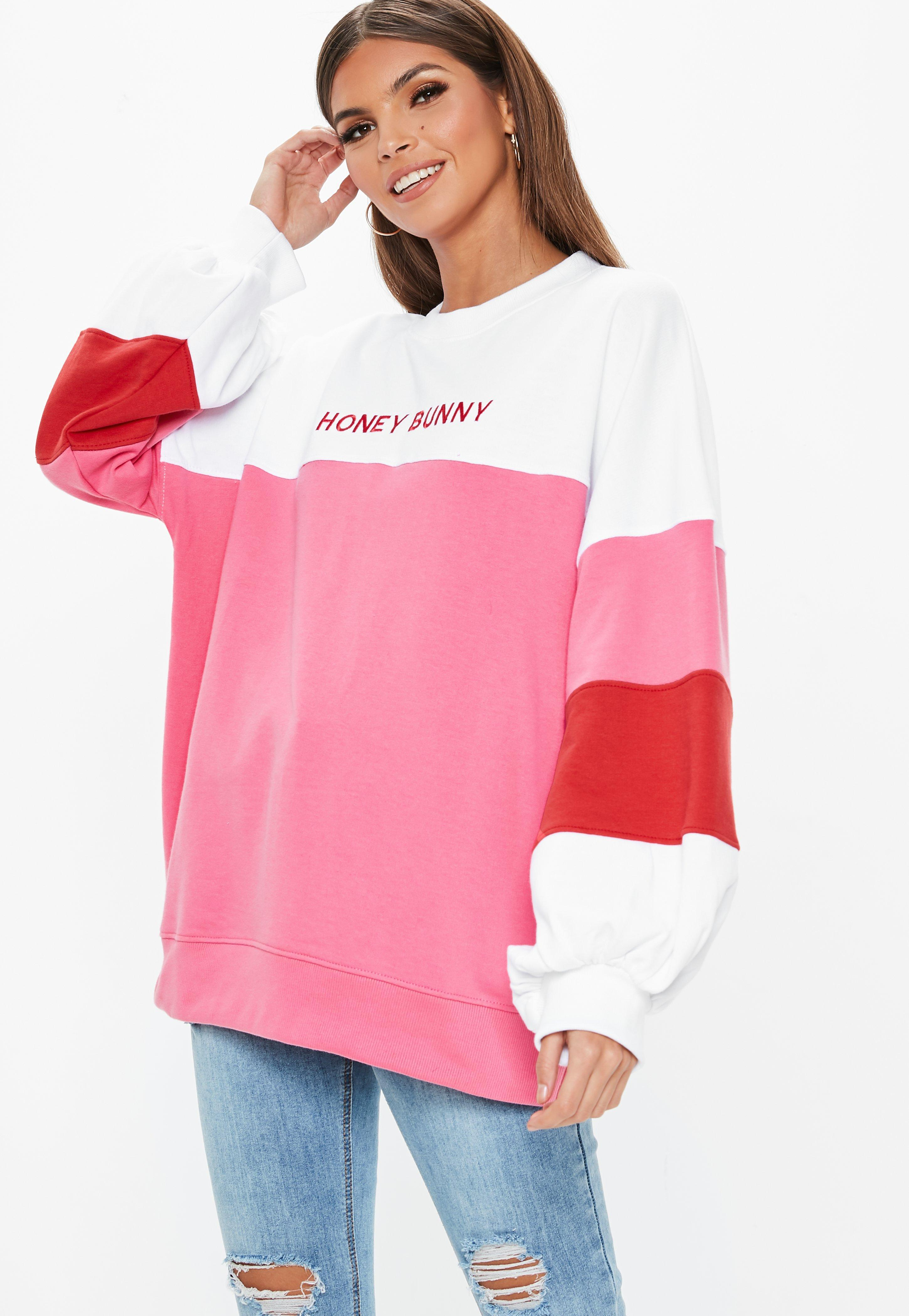 4efd2de9e Lyst - Missguided White Oversized Contrast Honey Bunny Embroidered ...