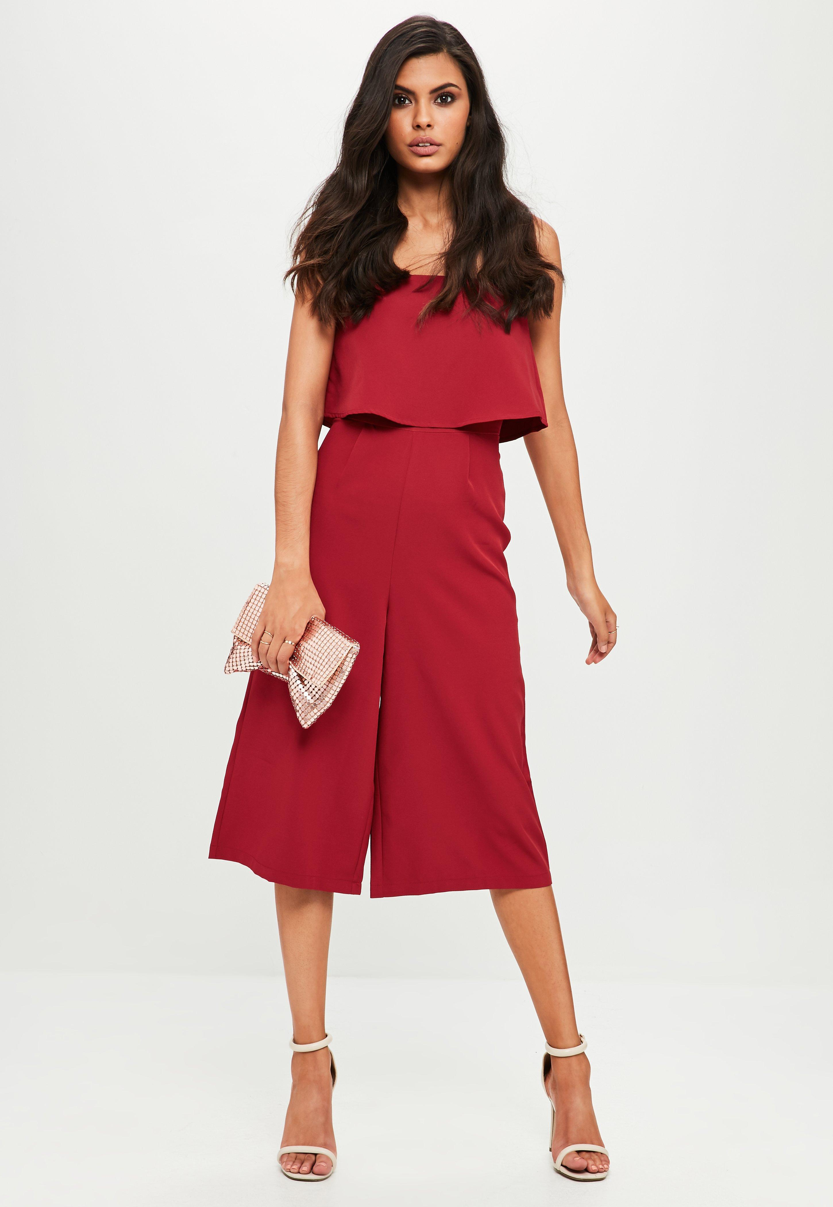 4a04333631bf Lyst - Missguided Burgundy Crepe Double Layer Culotte Jumpsuit in ...