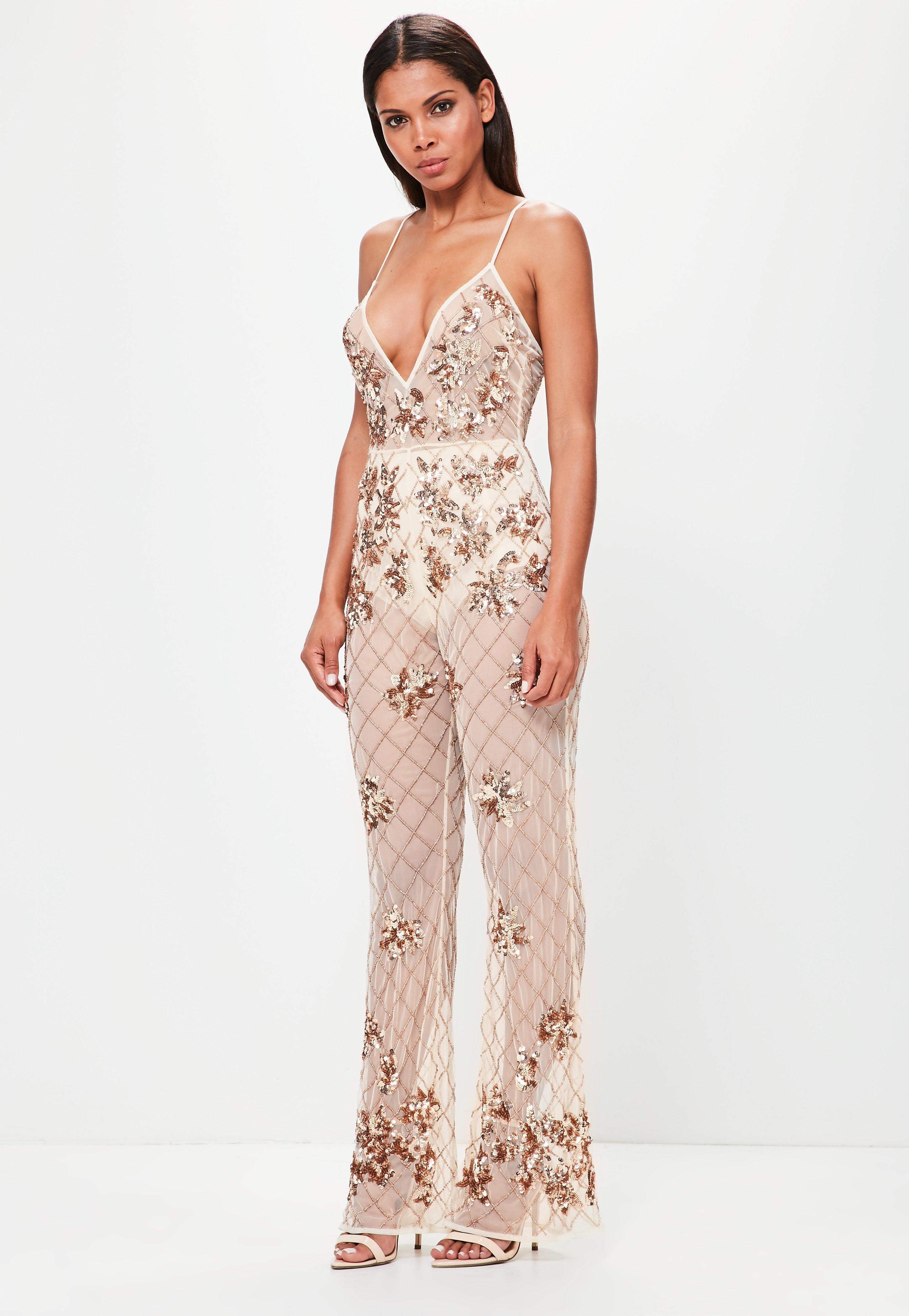 535e87dacc0b Missguided Peace + Love Nude Embellished Cami Jumpsuit in Natural - Lyst