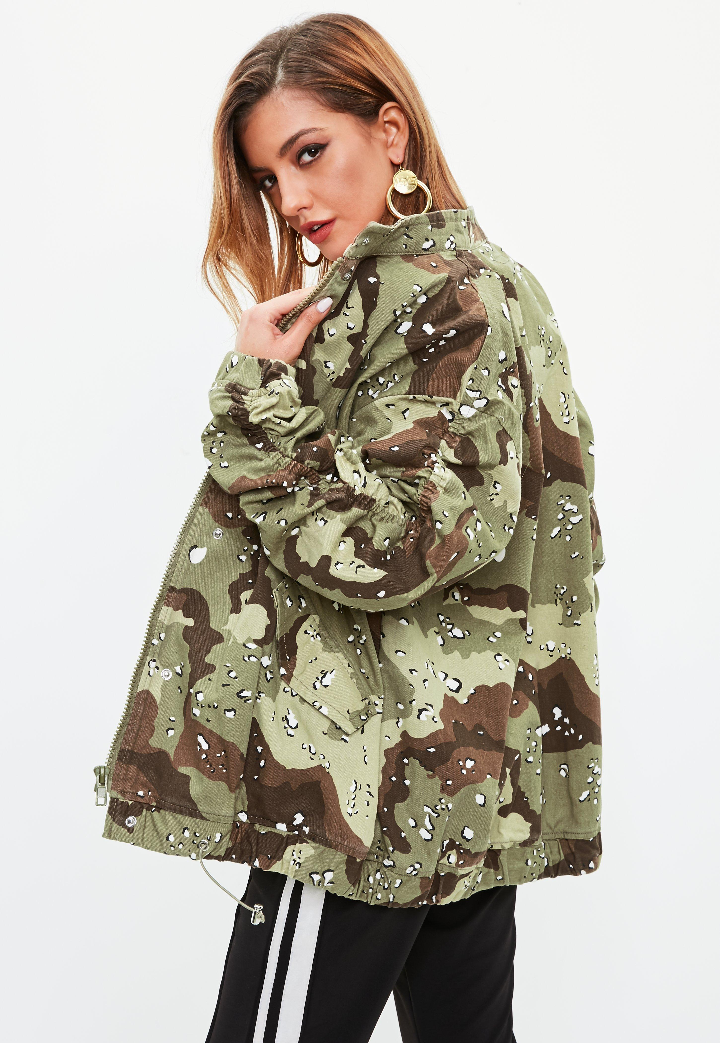 c925e987d8f Missguided - Multicolor Khaki Camo Ruched Sleeve Parka Jacket - Lyst. View  fullscreen