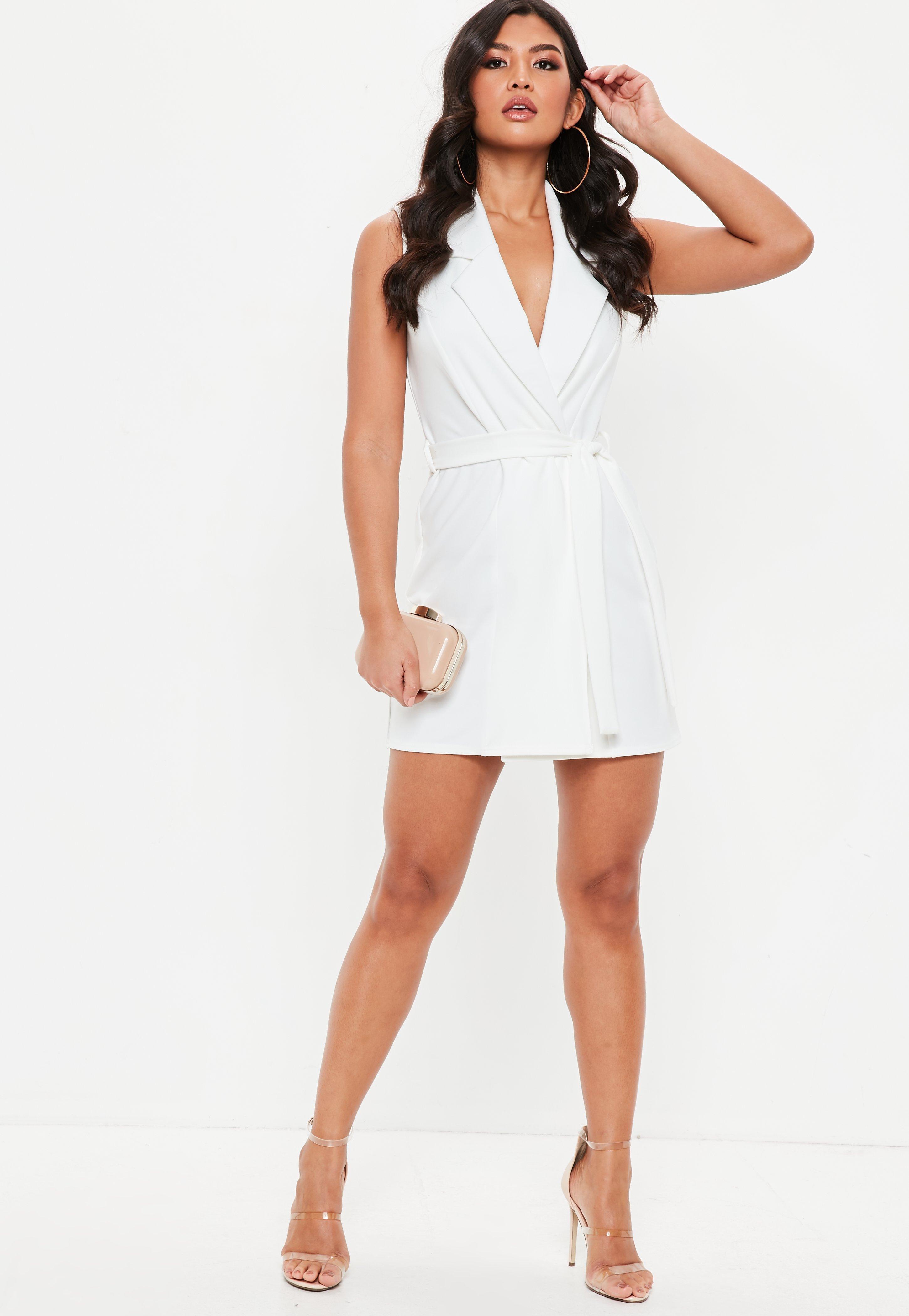 5cad173131f85 Missguided - White Sleeveless Stretch Crepe Blazer Dress - Lyst. View  fullscreen