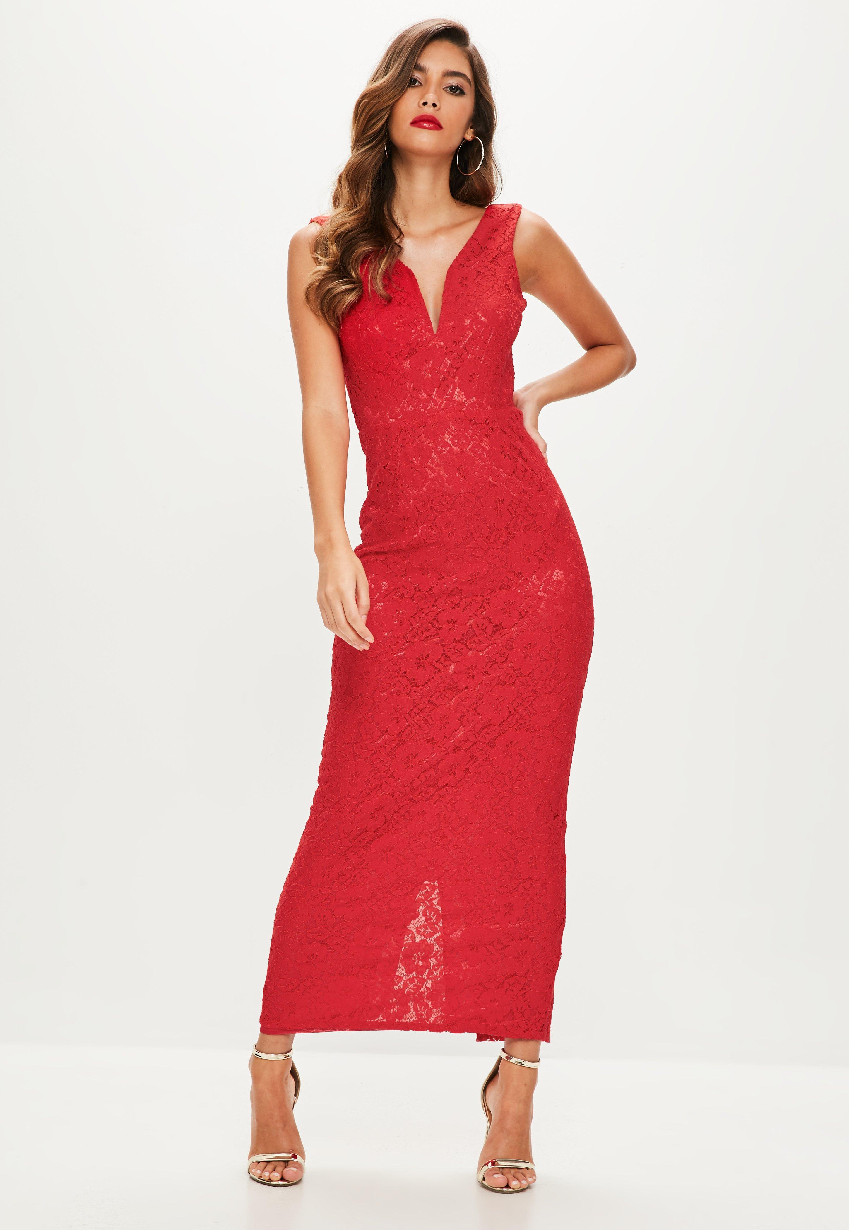 a7a148bd9f50 Lyst - Missguided Red V Plunge Lace Maxi Dress in Red