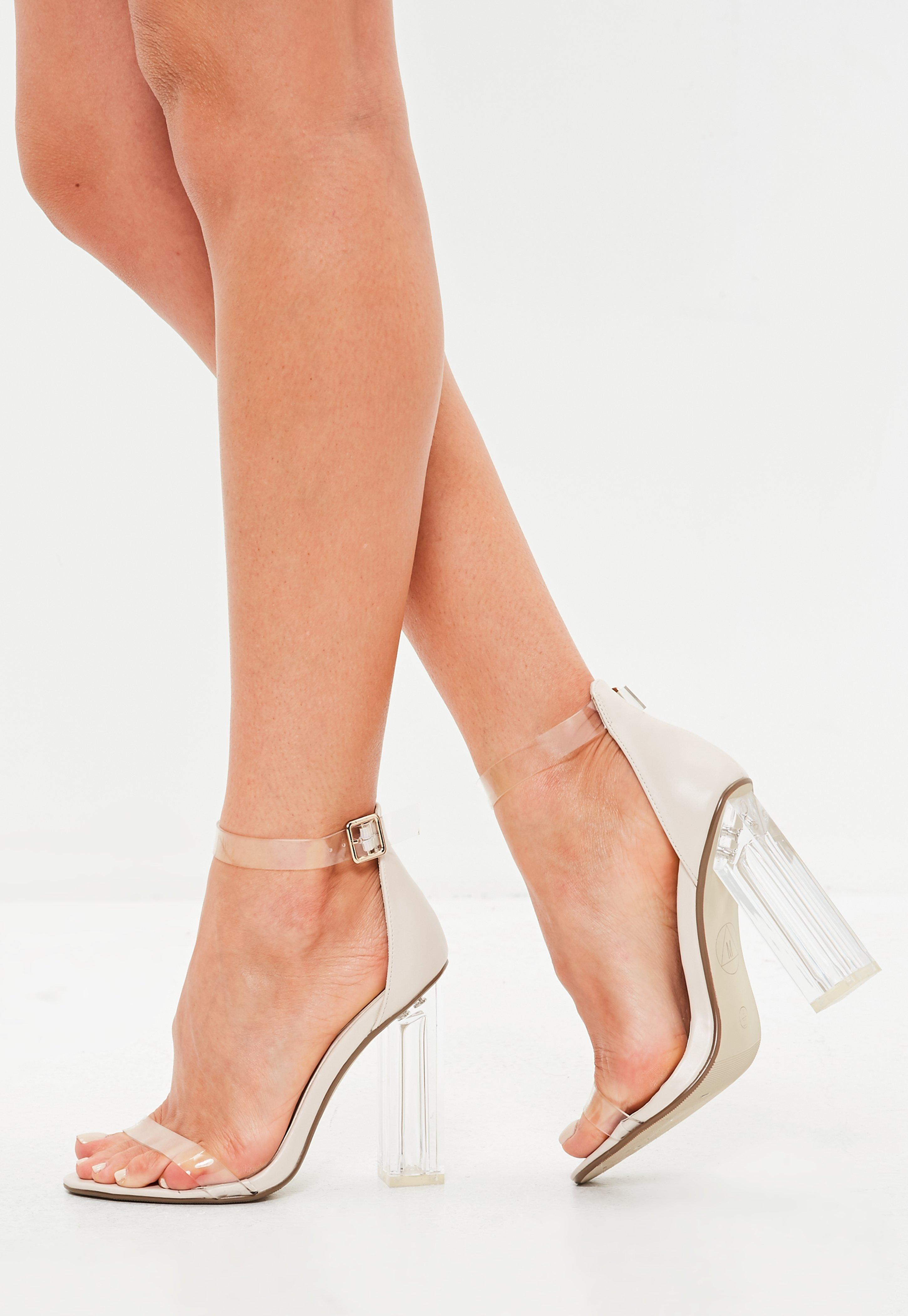 f4b792a545c Missguided Nude Block Perspex Sandal Heels in Natural - Lyst