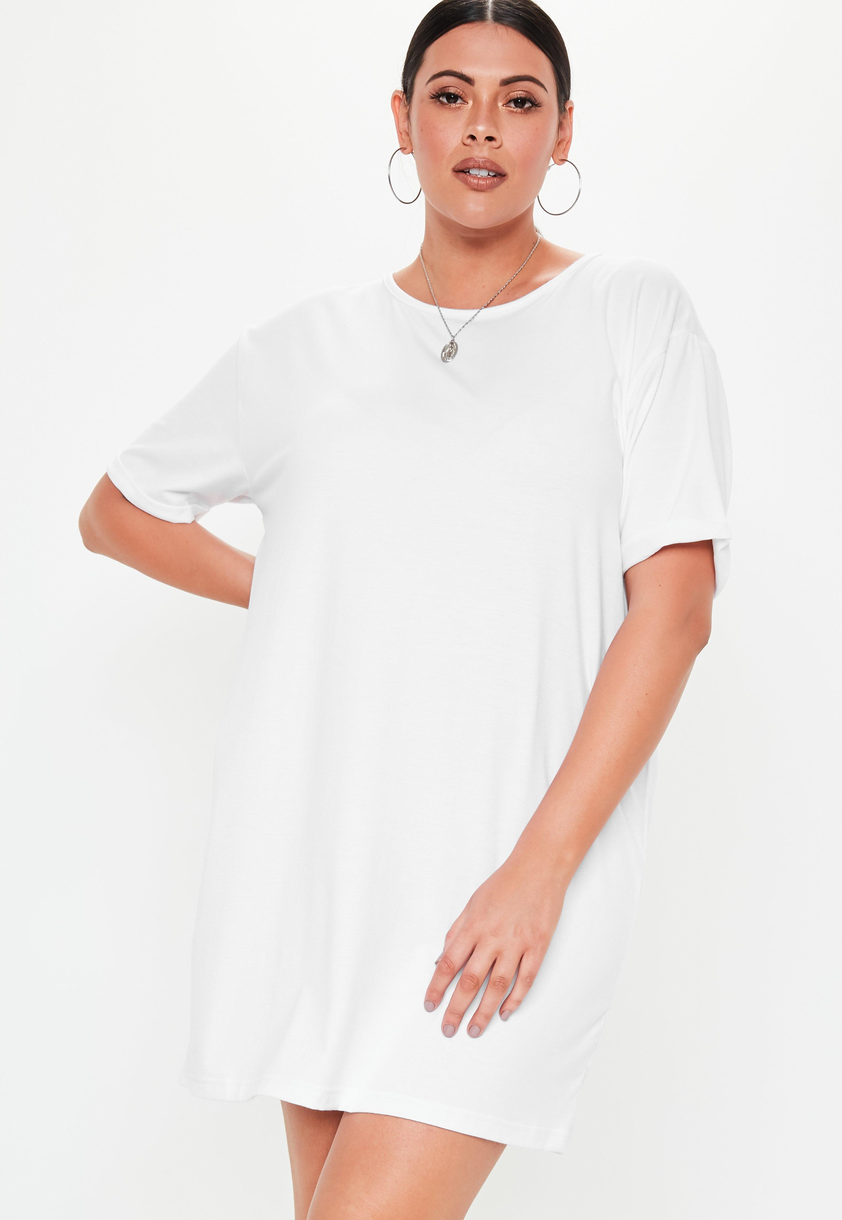 1edf3f7097d Lyst - Missguided Plus Size White Oversized T Shirt Dress in White