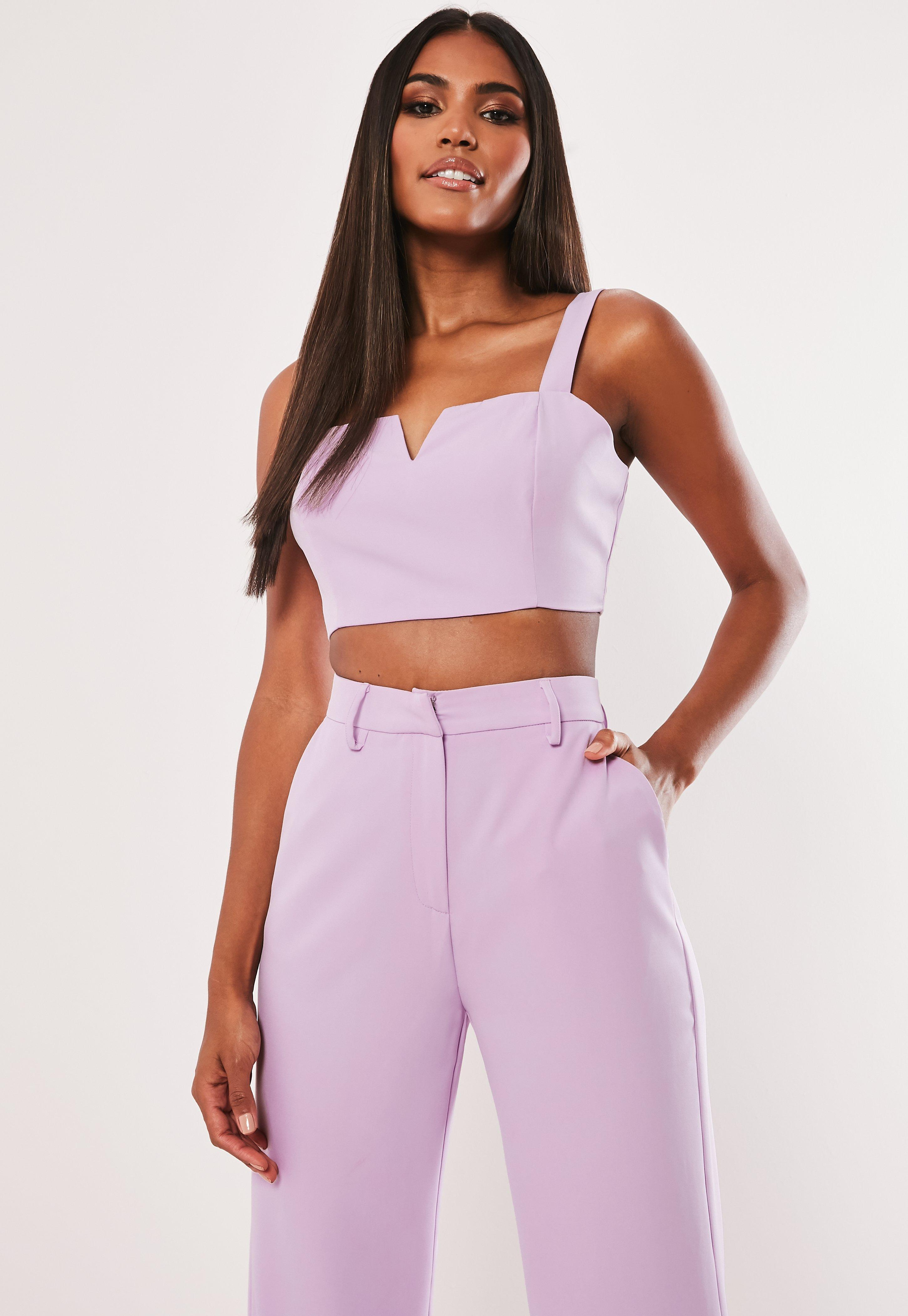 3a6689cb926 Missguided - Purple Lilac Co Ord V Neck Crop Top - Lyst. View fullscreen