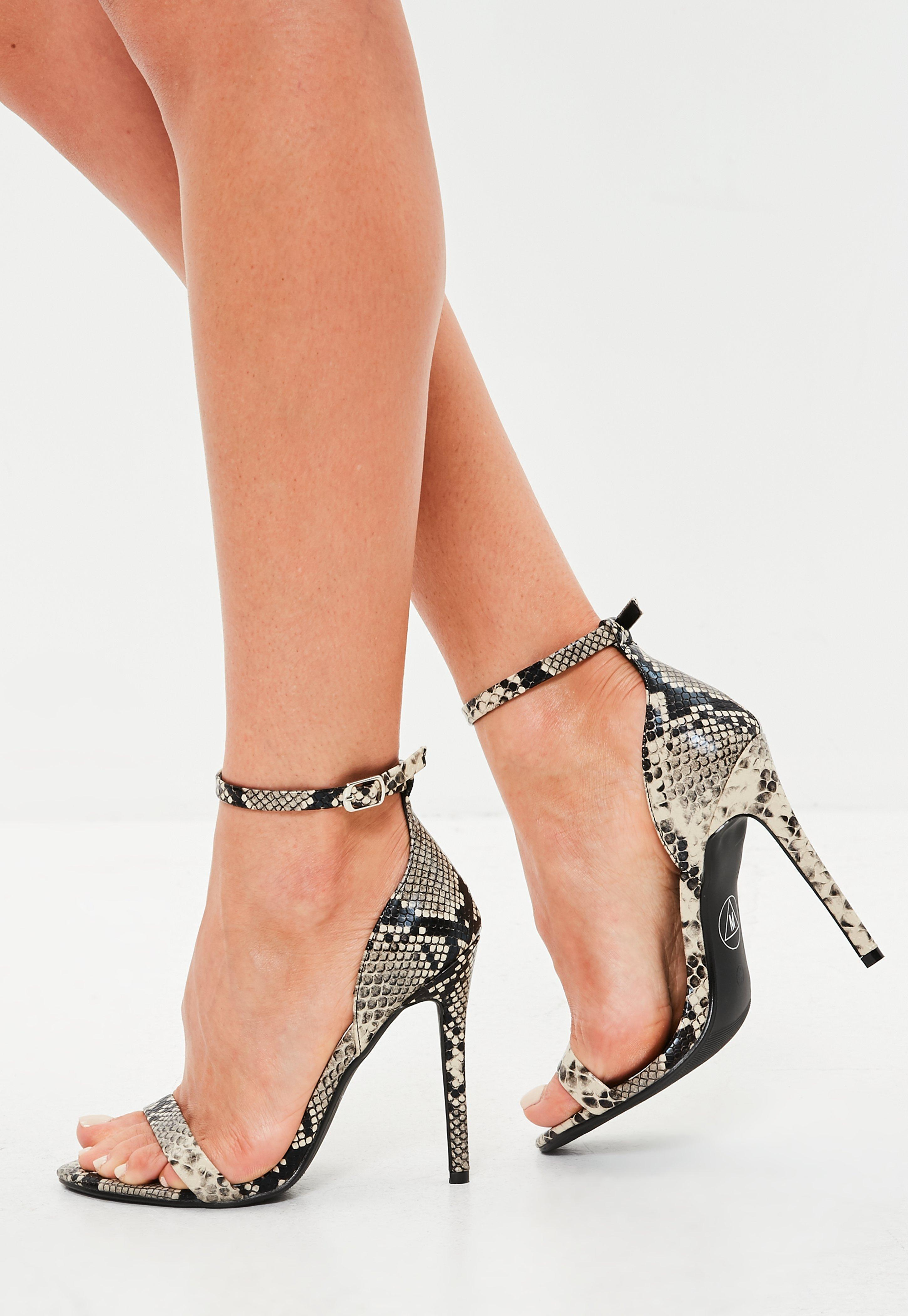 f4b96521167d Lyst - Missguided Gray Snake Print Two Strap Barely There Heels in Gray
