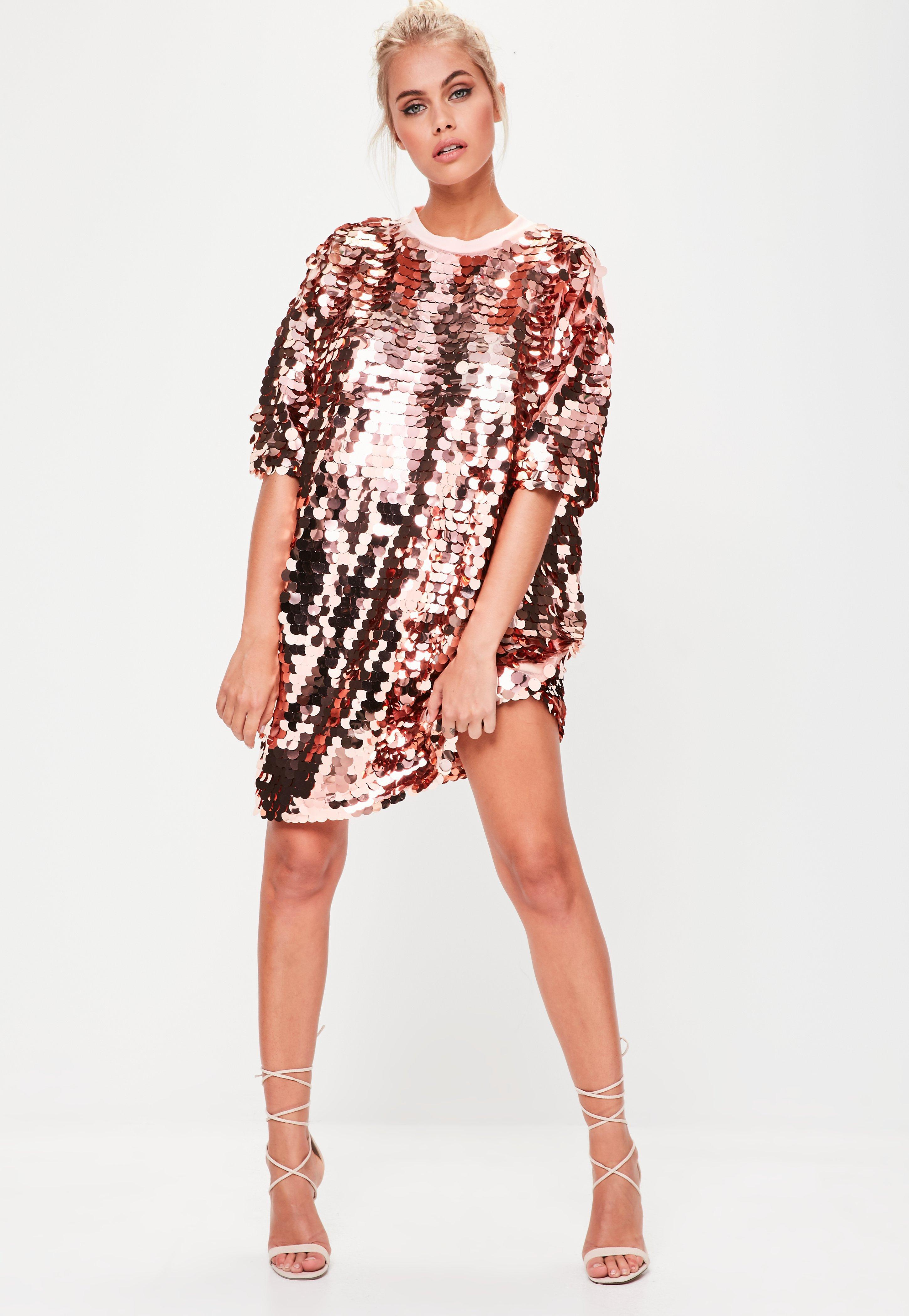3b5a7a76047 Missguided Rose Gold Sequin T-shirt Dress in Pink - Lyst