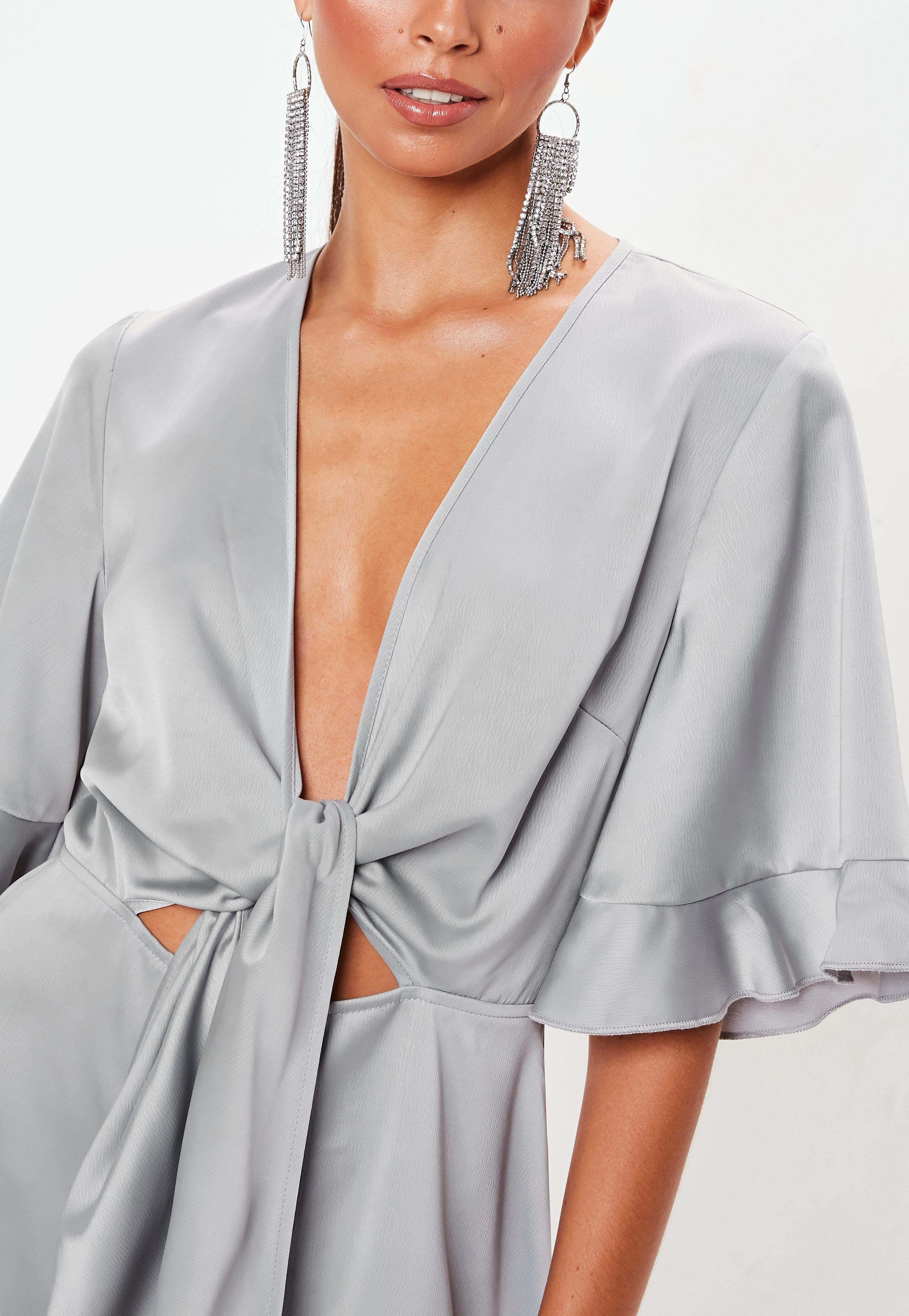1765d5047cc7 Missguided - Gray Tie Front Scarf Kimono Sleeve Romper - Lyst. View  fullscreen