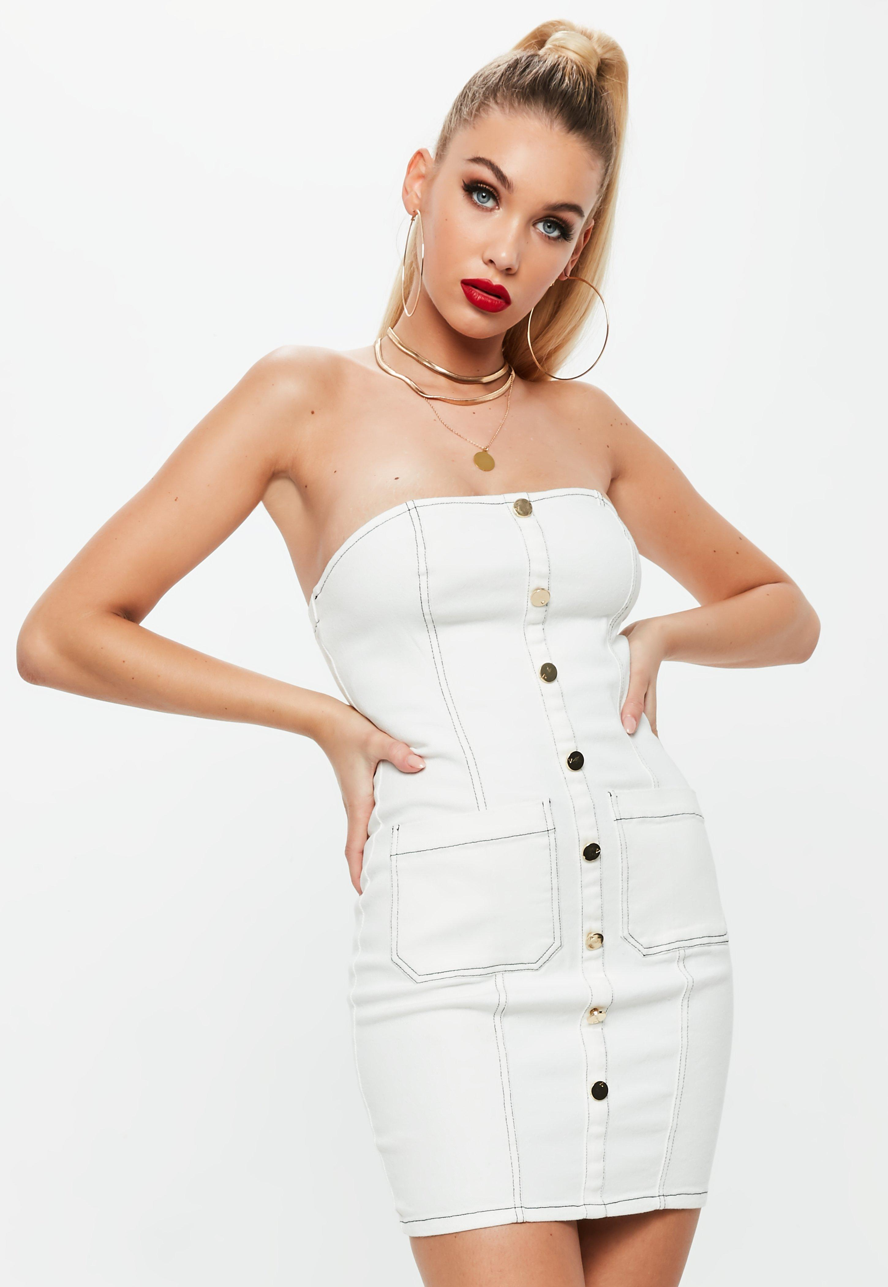 Missguided Strapless Contrast Stitch Denim Dress Choice Online Cheap Recommend Collections XWyzU8H