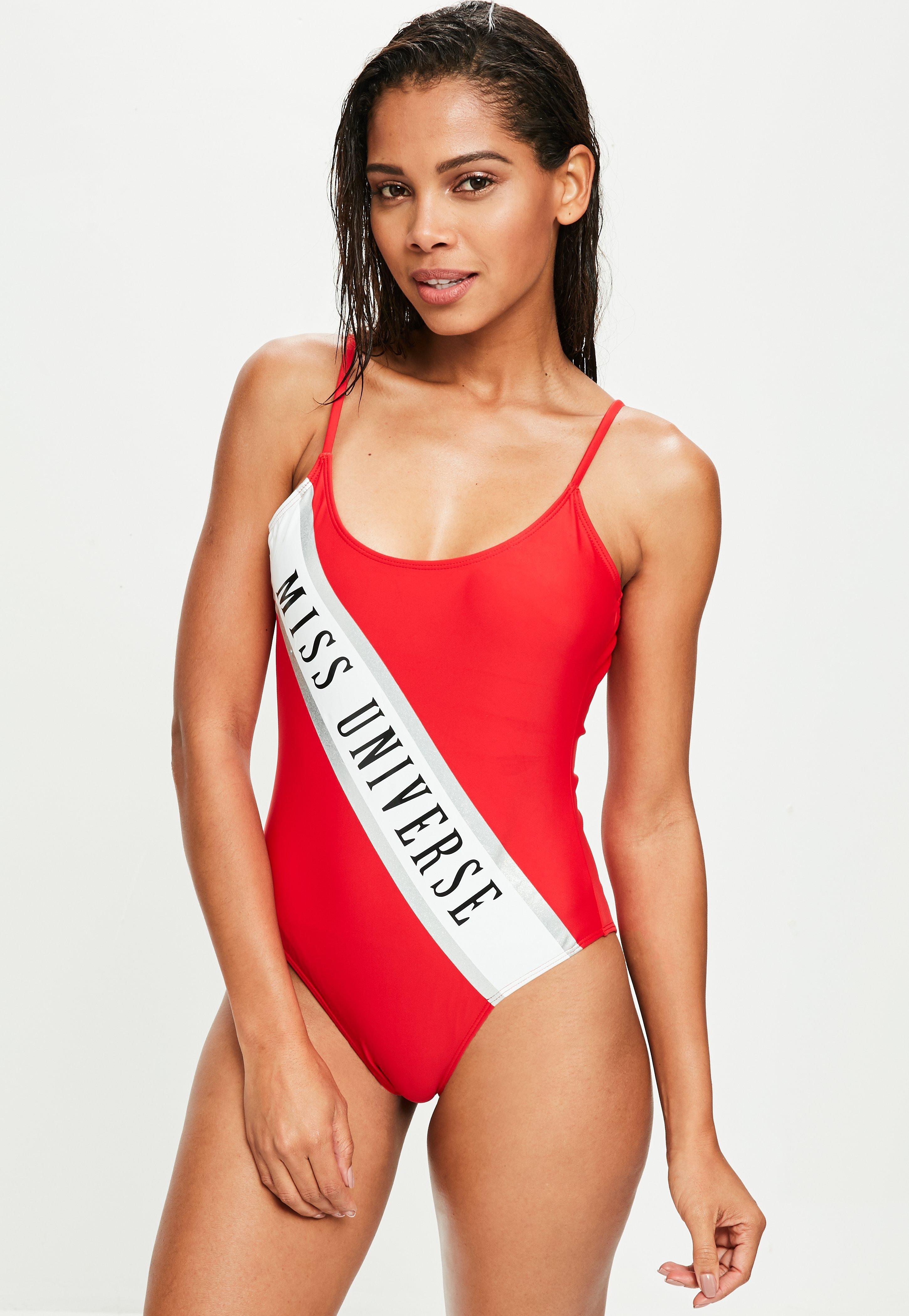 caad4c7292 Lyst - Missguided Miss Universe Red Slogan Swimsuit in Red