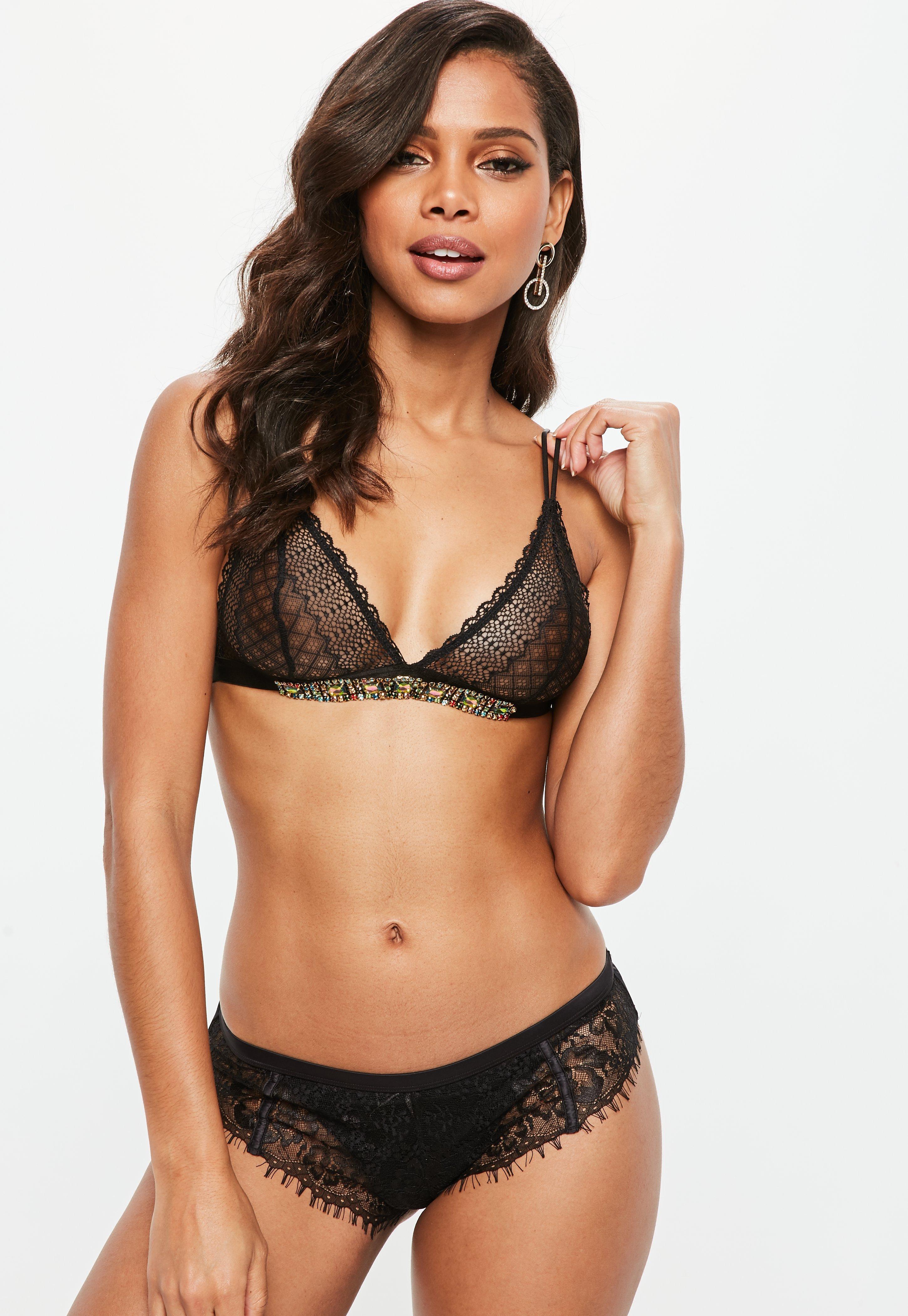be84a6e263 Lyst - Missguided Black Multi Trim Lace Soft Bra in Black