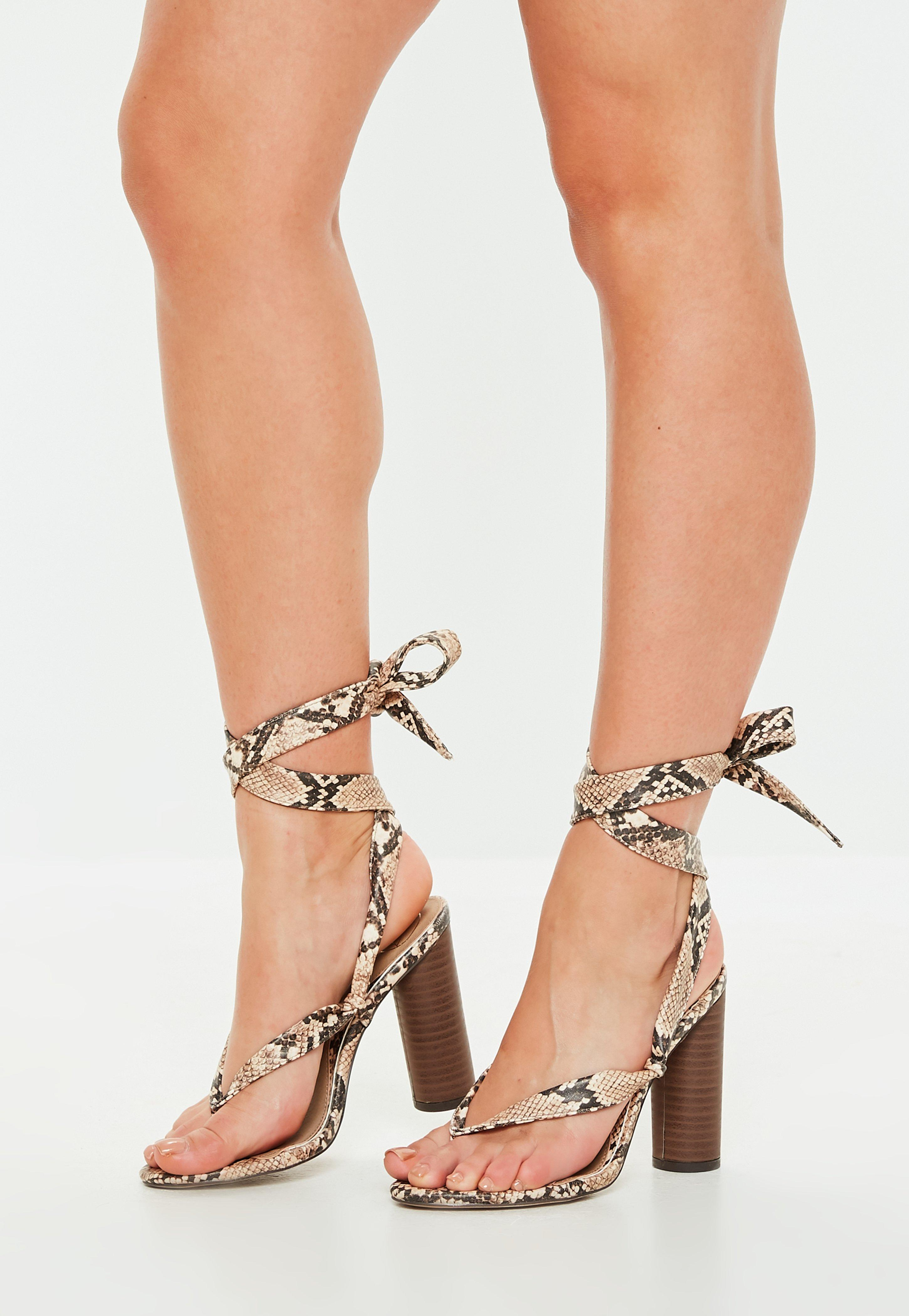 b55a41144c4 Lyst - Missguided Nude Snake Print Wrap Block Heel Sandals in Natural