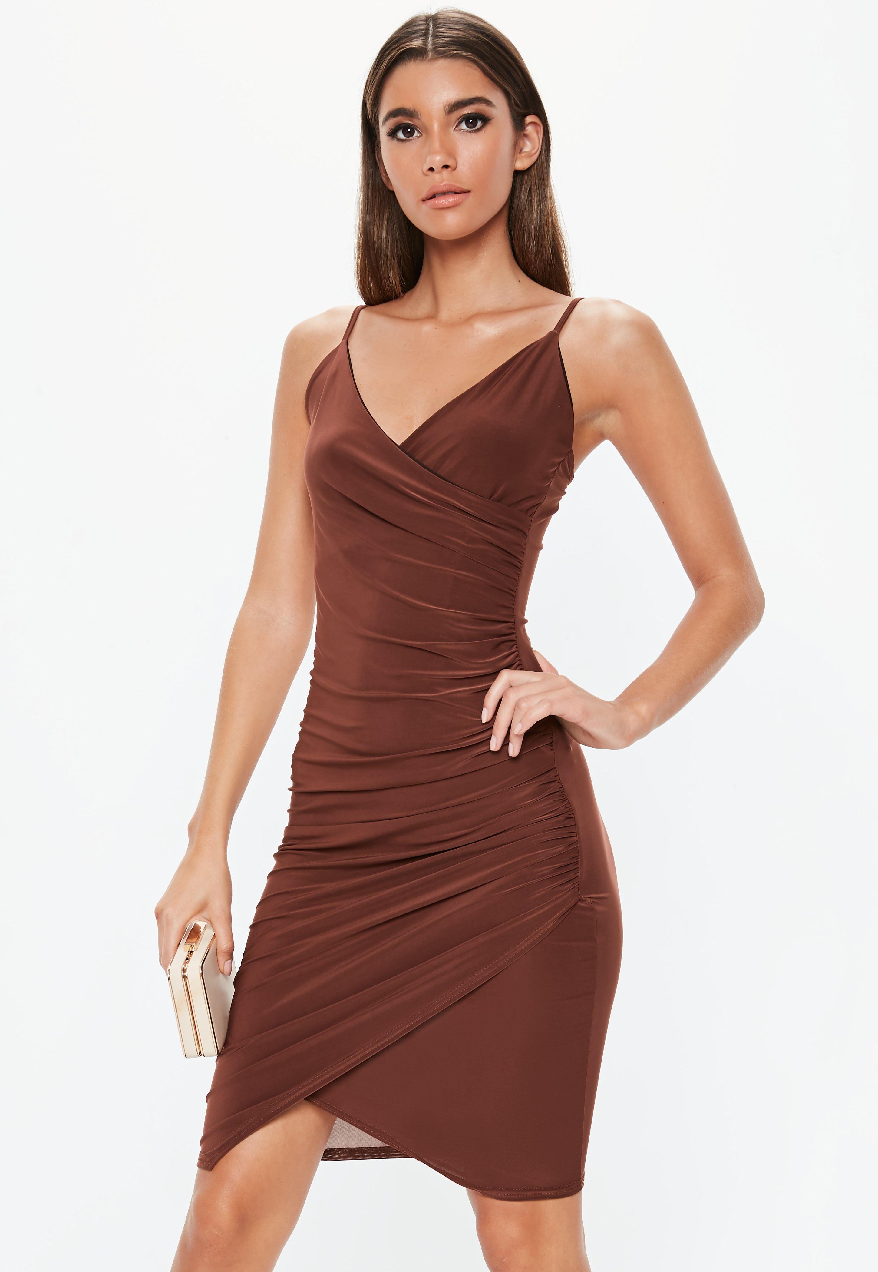 f49d13dc852 Missguided - Brown Chocolate Strappy Slinky Wrap Midi Dress - Lyst. View  fullscreen