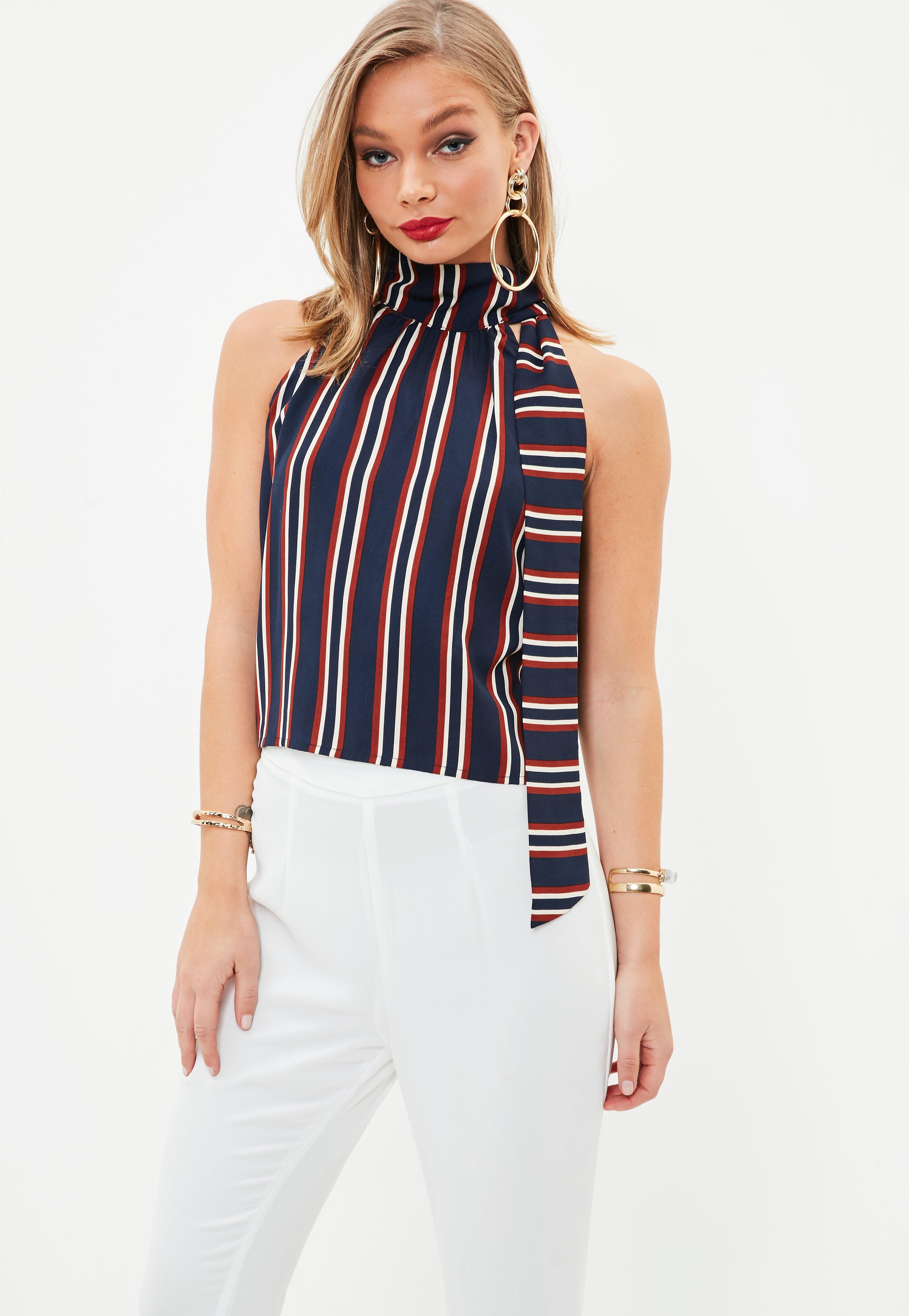 a5282737d1aab Lyst - Missguided Navy Tie Halter Neck Stripe Crop Top in Blue