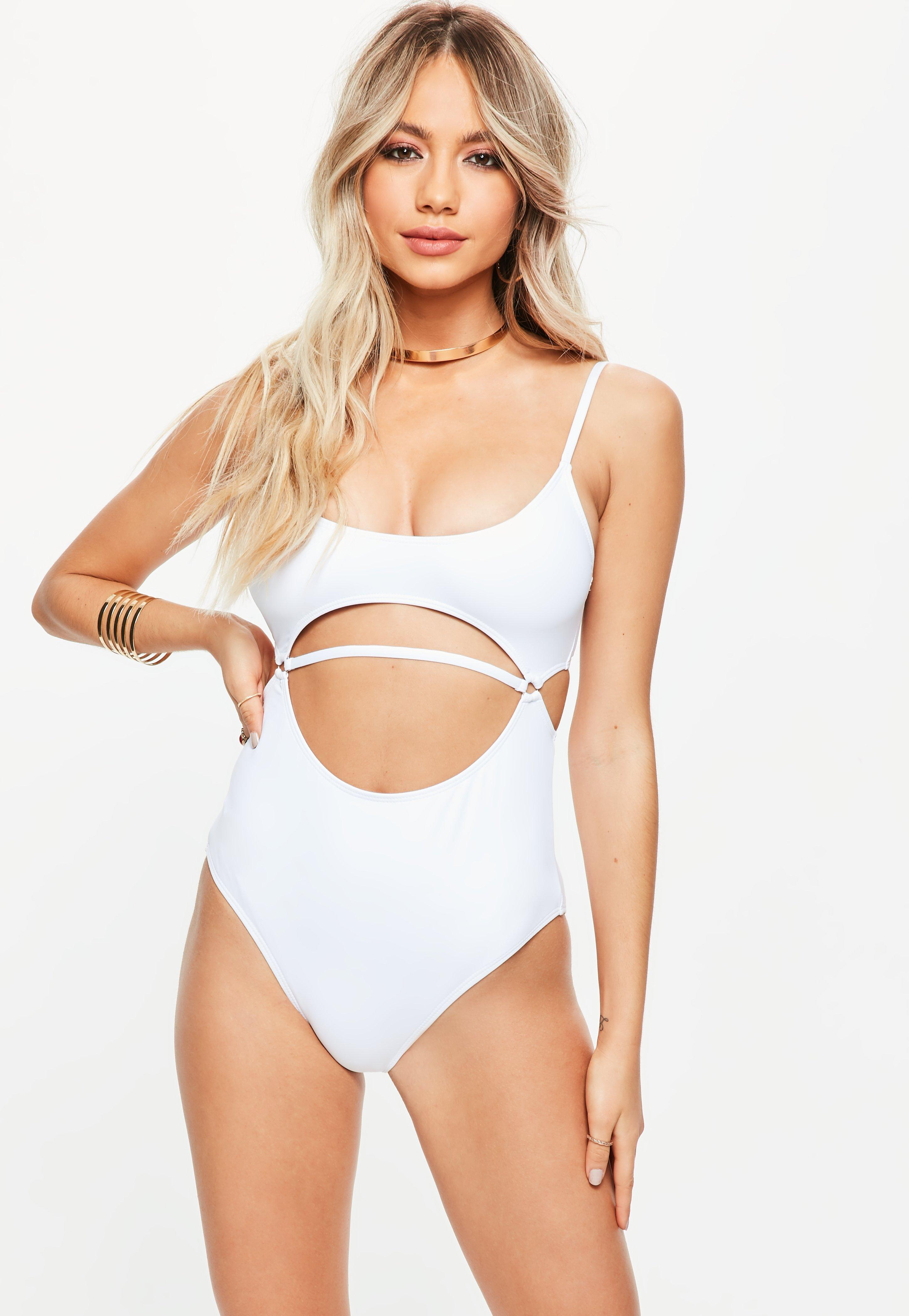 2a9868af03 Missguided White Cut Out Front Minimal Swimsuit in White - Lyst