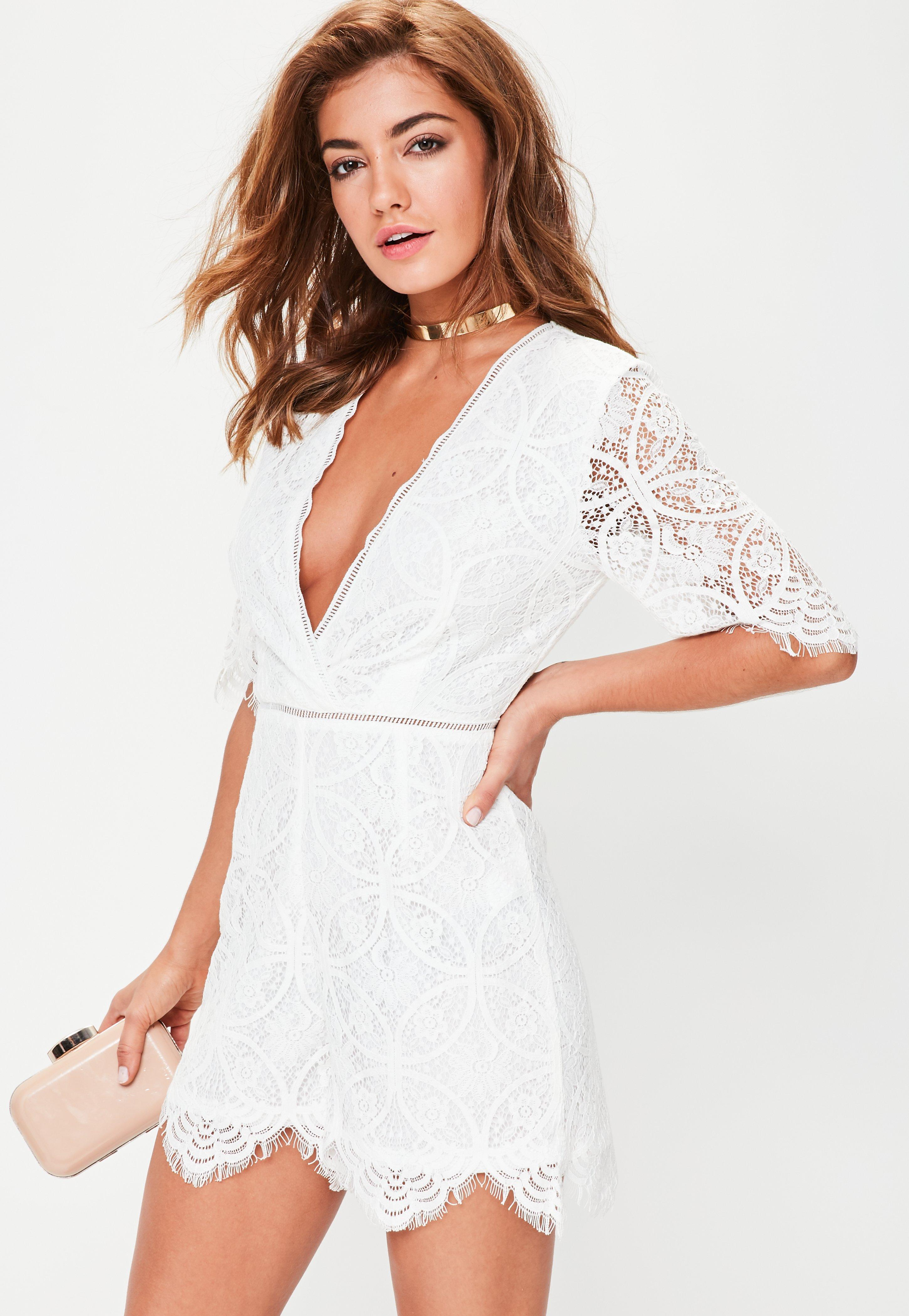 eab7b4e3a08b Lyst - Missguided Tall White Lace Plunge Trim Playsuit in White
