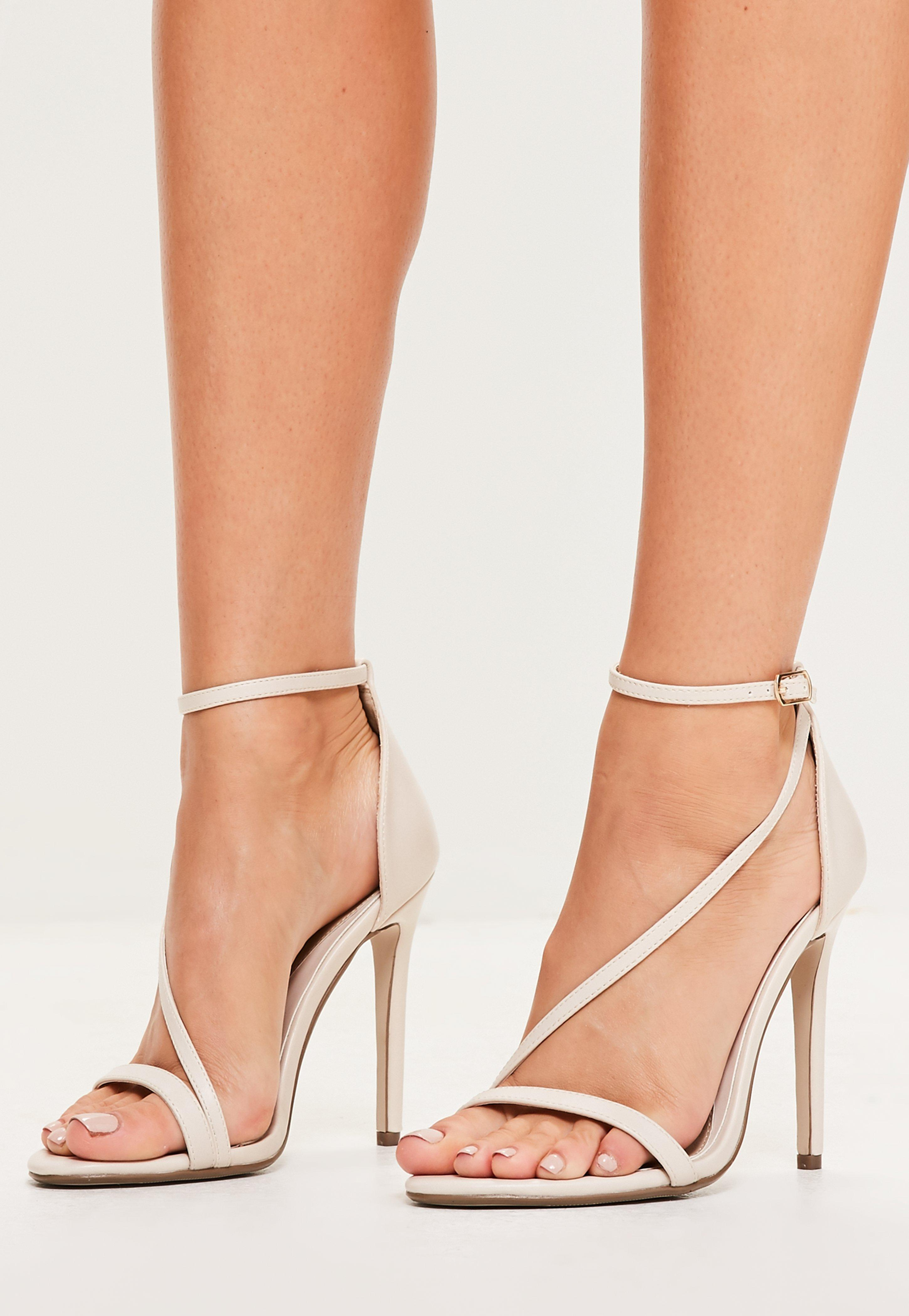 f7b2b9959 Missguided Nude Asymmetric Strappy Sandals in Natural - Lyst