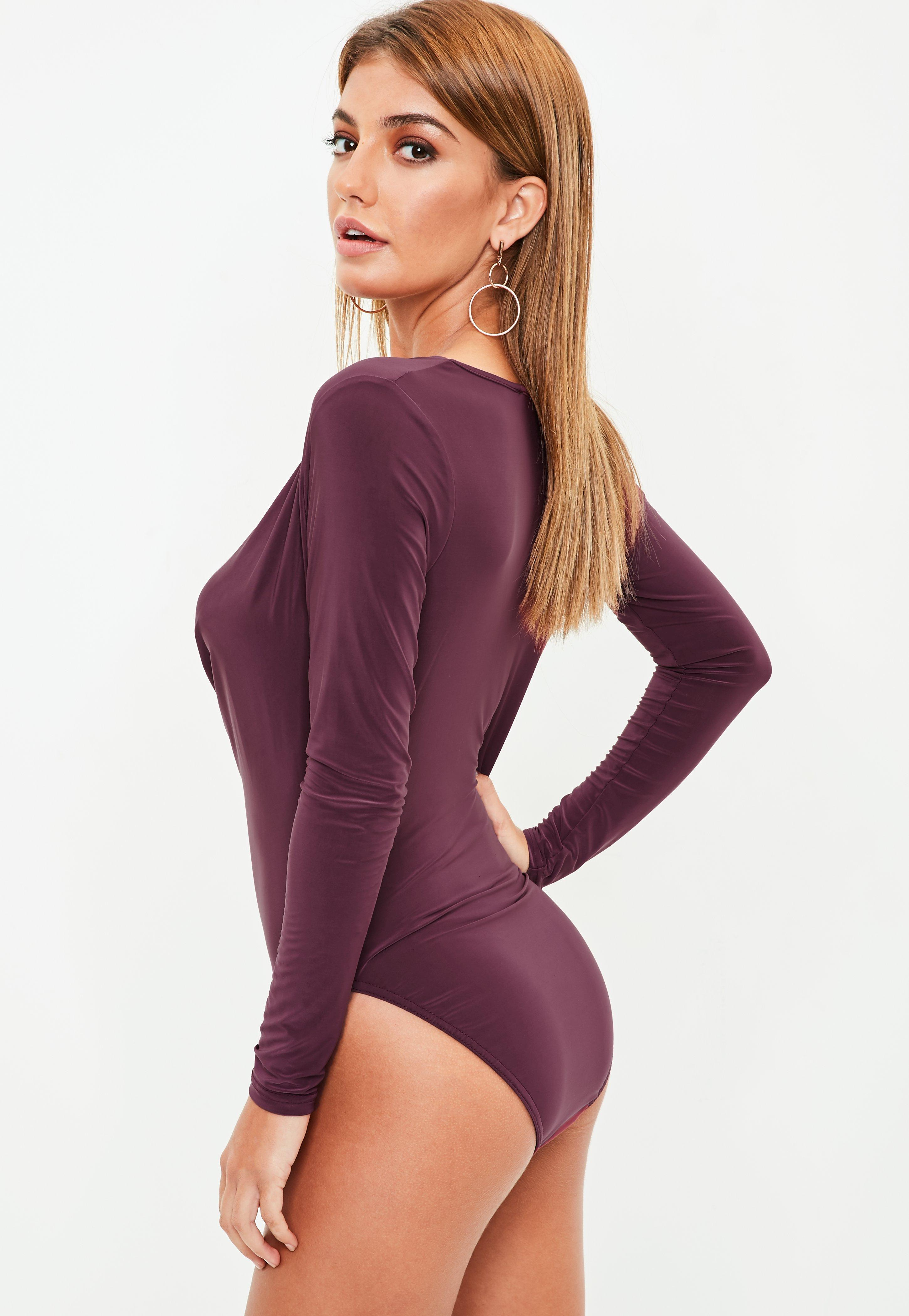 977c55e5ae Missguided Purple Cowl Neck Slinky Bodysuit in Purple - Lyst