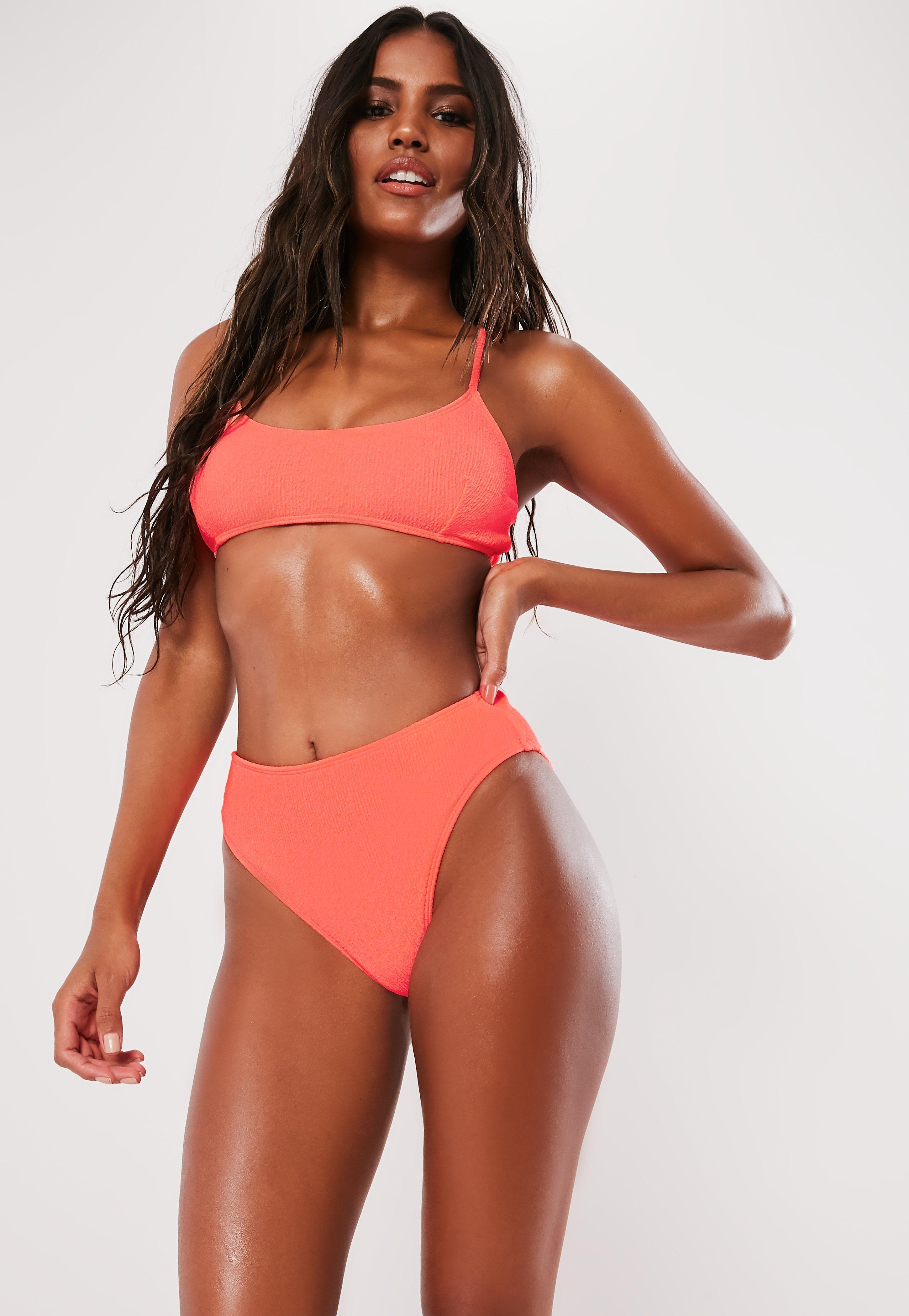 9f7def691b3b0 Missguided. Women's Neon Peach Crinkle High Waisted High Leg Bikini Bottoms